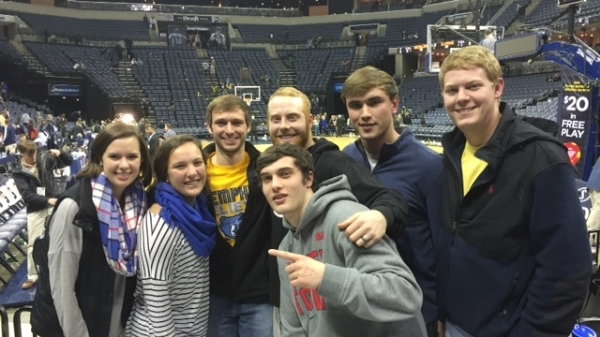 Drew with Clemson students at a Memphis basketball game.