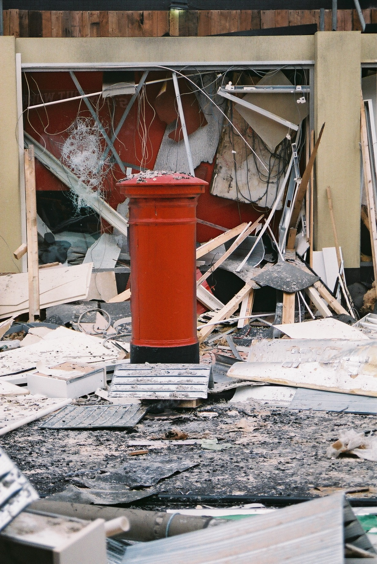 A recreation of the post box that survived the bomb