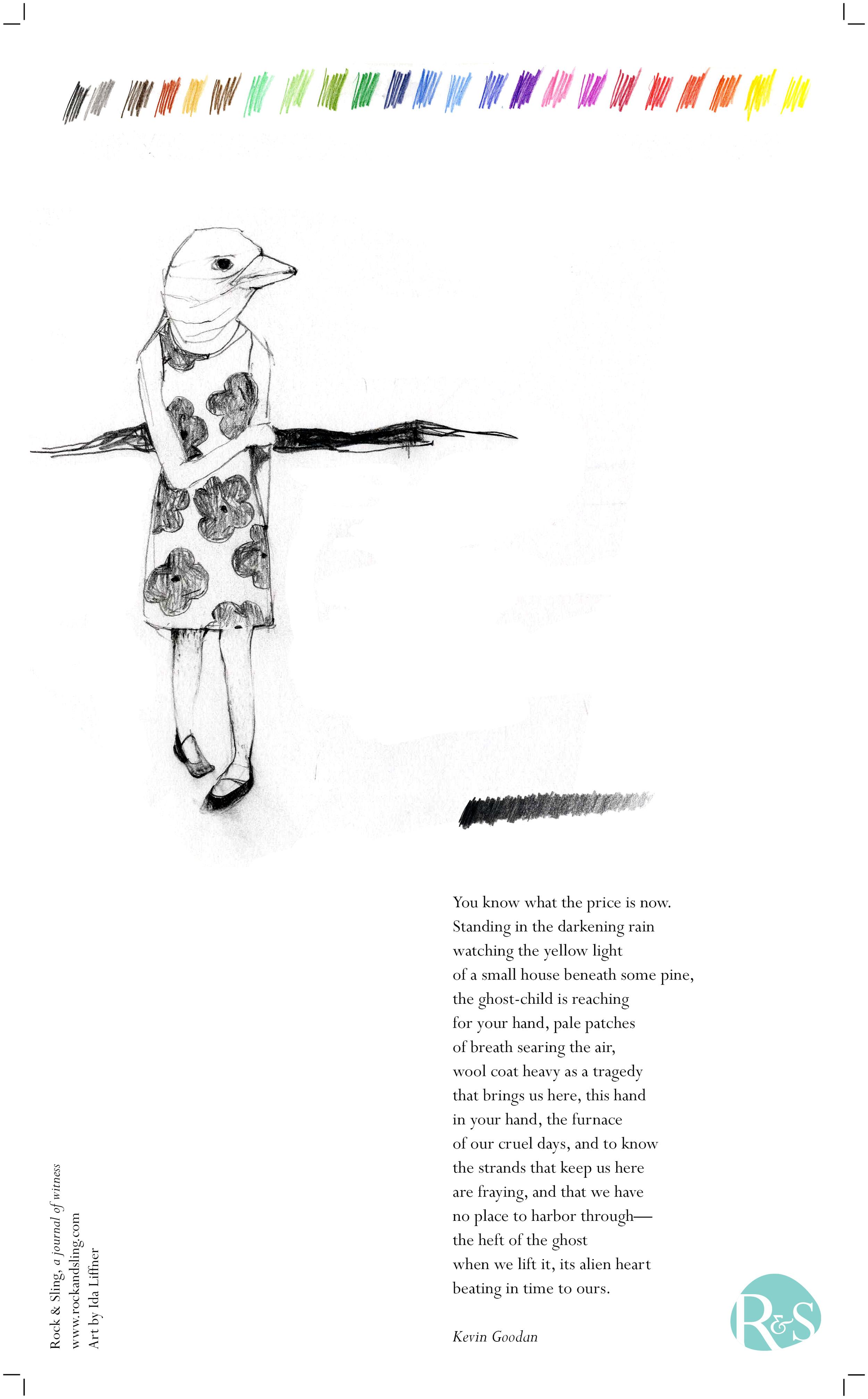 Broadside for Rock & Sling. Art by Ida Liffner. Poem by Kevin Goodan.