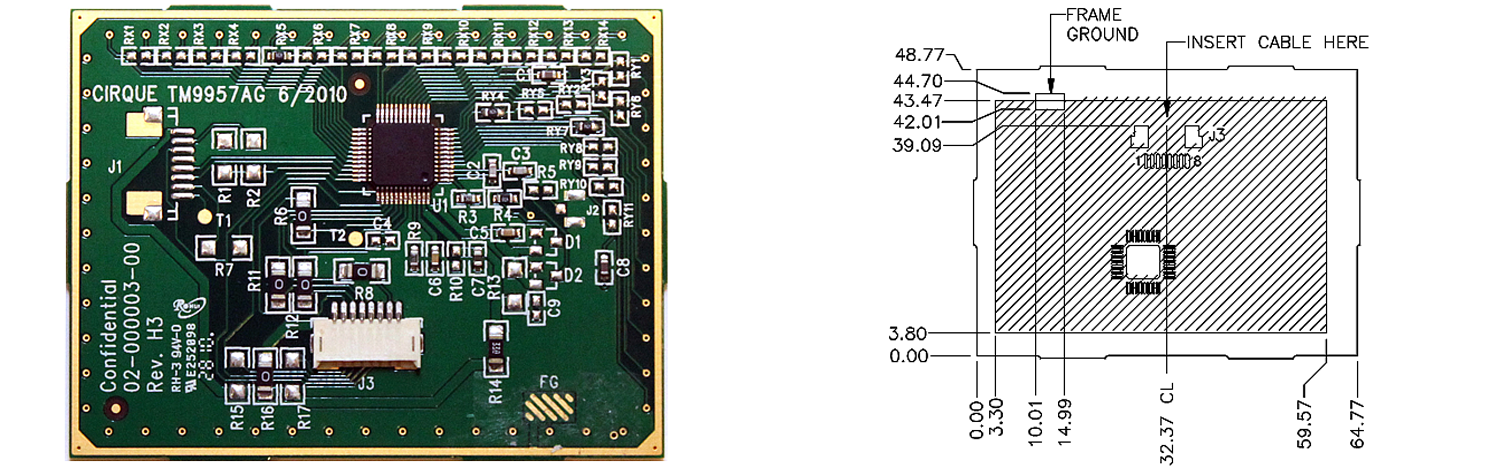 TM9957 trackpad's Sensor Side and Dimensions
