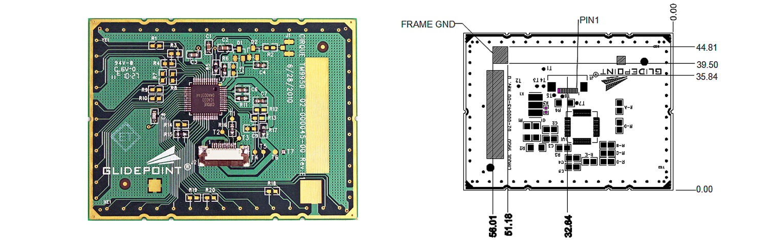TM9950 trackpad's Sensor Side and Dimensions