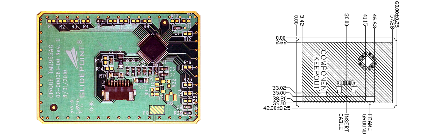 TM9955 trackpad's Sensor Side and Dimensions