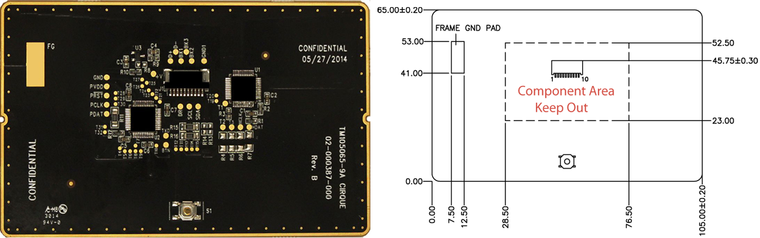 TM105065 trackpad's Sensor Side and Dimensions