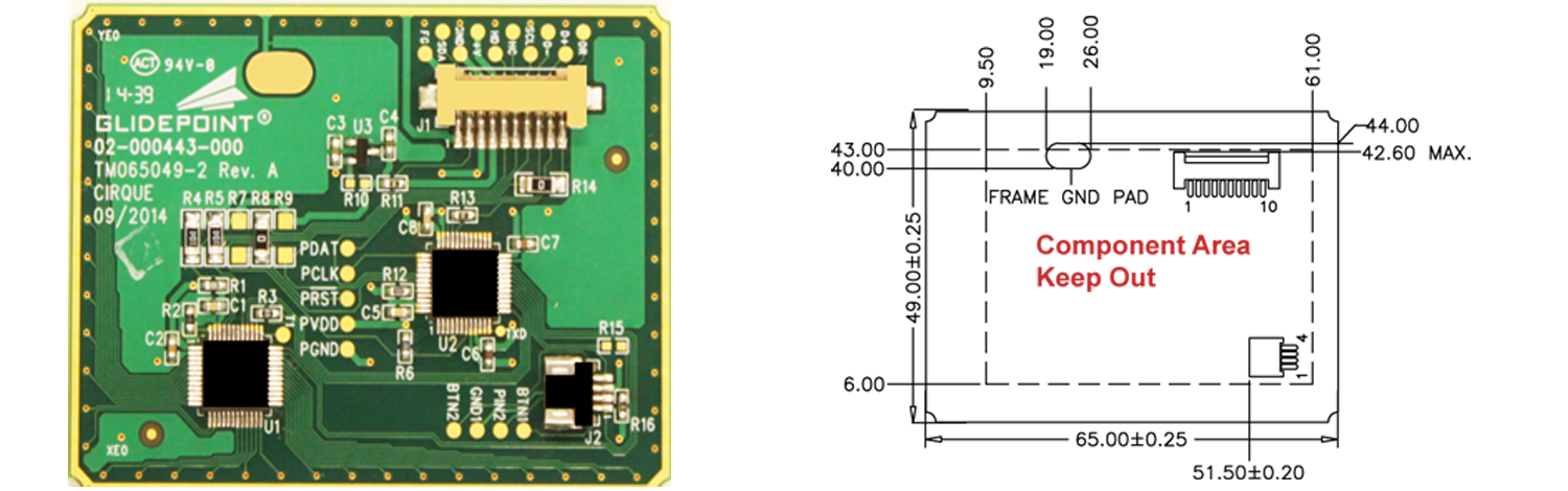 TM065049-2 Trackpad's Sensor Side and Dimensions