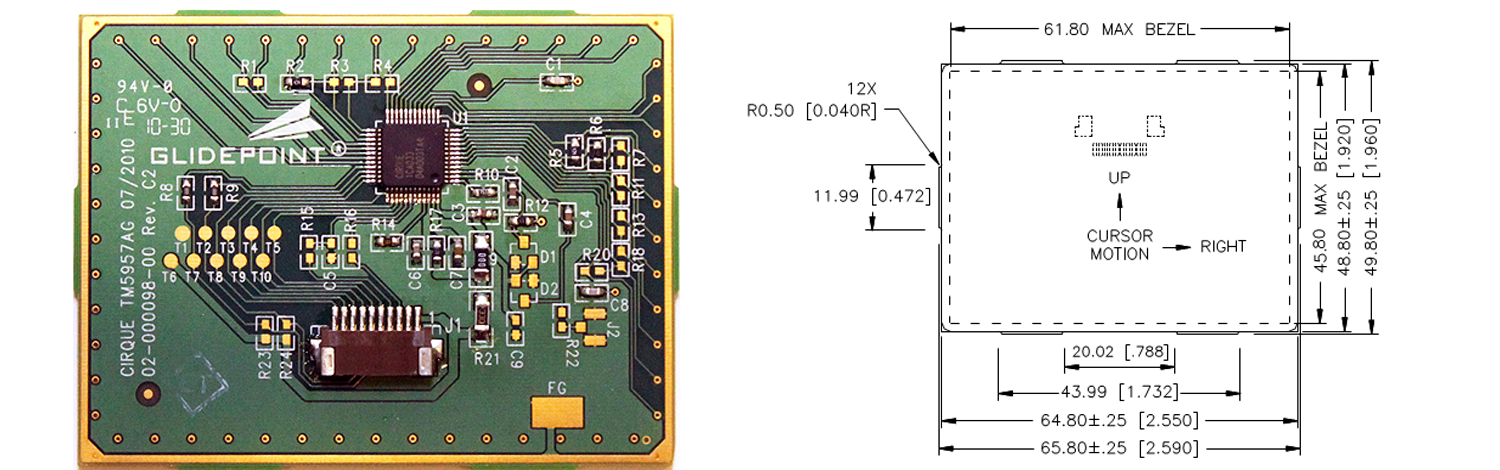 TM5957 trackpad's Sensor Side and Dimensions
