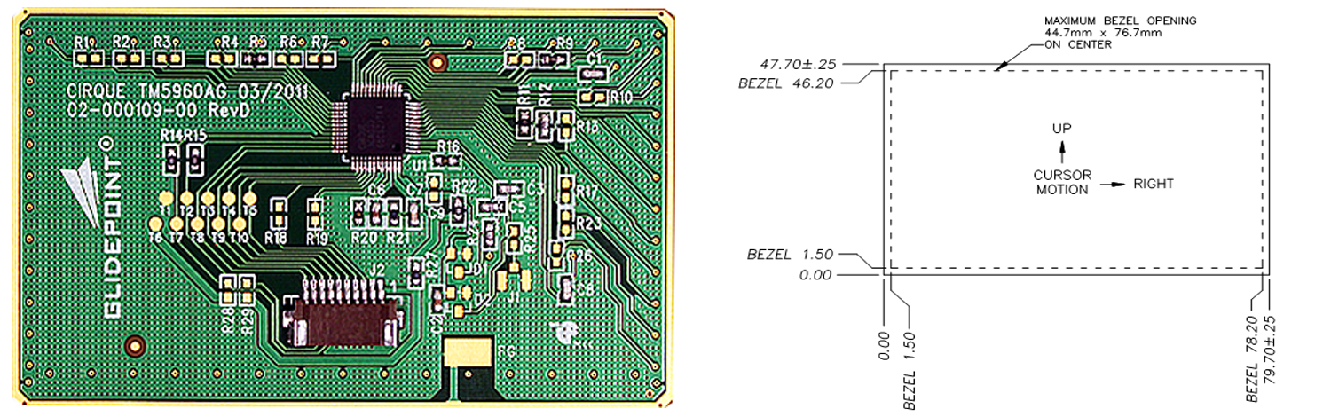 TM5960 trackpad's Sensor Side and Dimensions