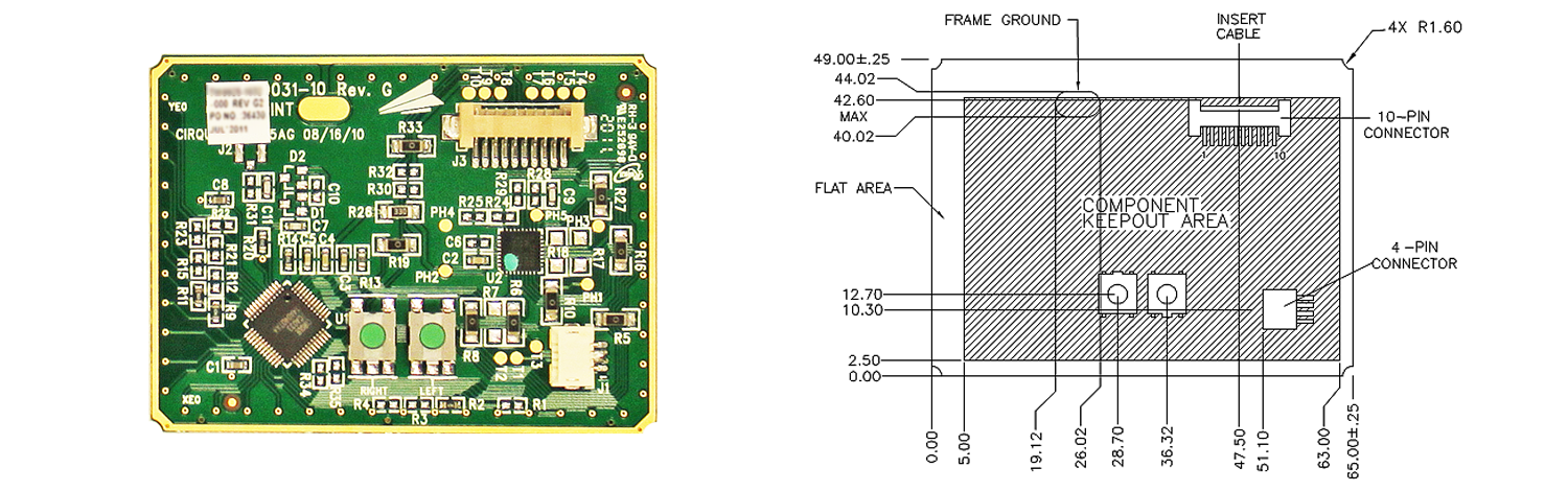 PK20 trackpad's Sensor Side and Dimensions