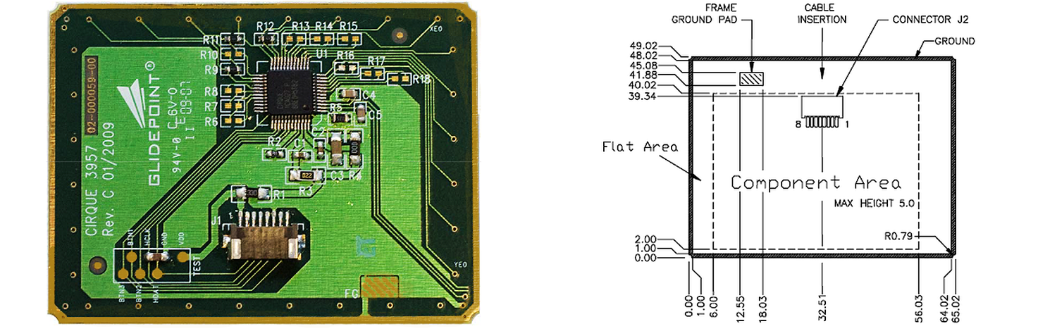 TM3957 trackpad's Sensor Side and Dimensions