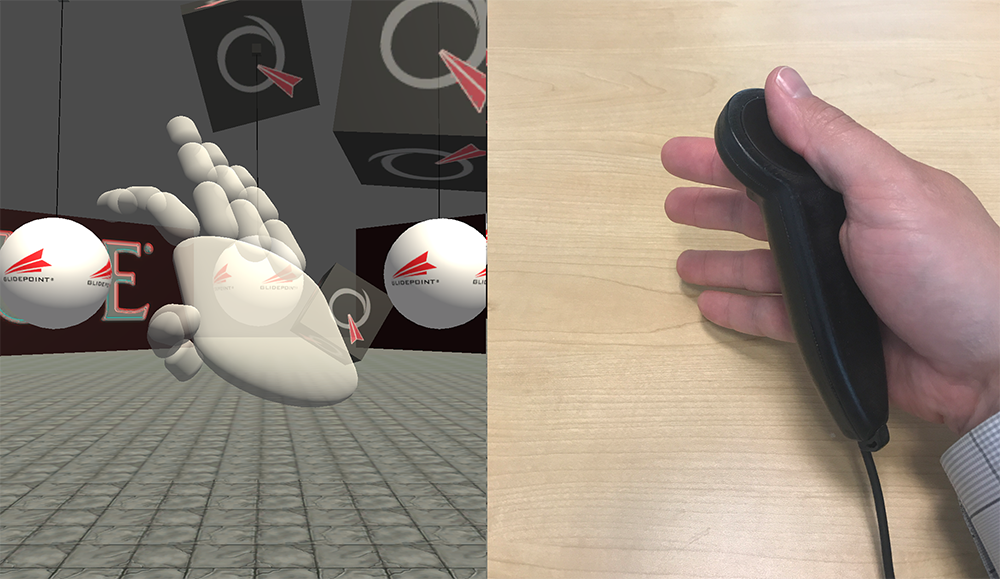 """Here, the user has """"opened"""" the hand over the surface of the controller, and the virtual hand reacts appropriately."""