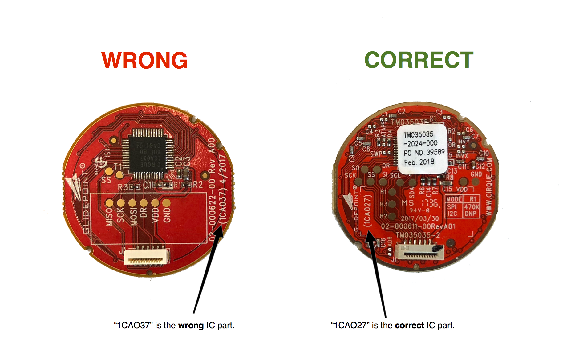 NOTE: The sample correct part shows a sticker on the ASIC. This may or may not be present on actual parts.