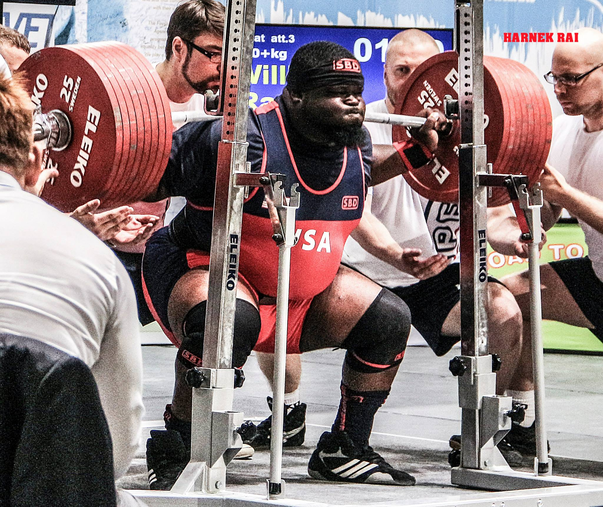 Mississippi Barbell athlete Ray Williams breaking the world squat record in 2015 with 425.5/938. Photo credit: Harnek Rai