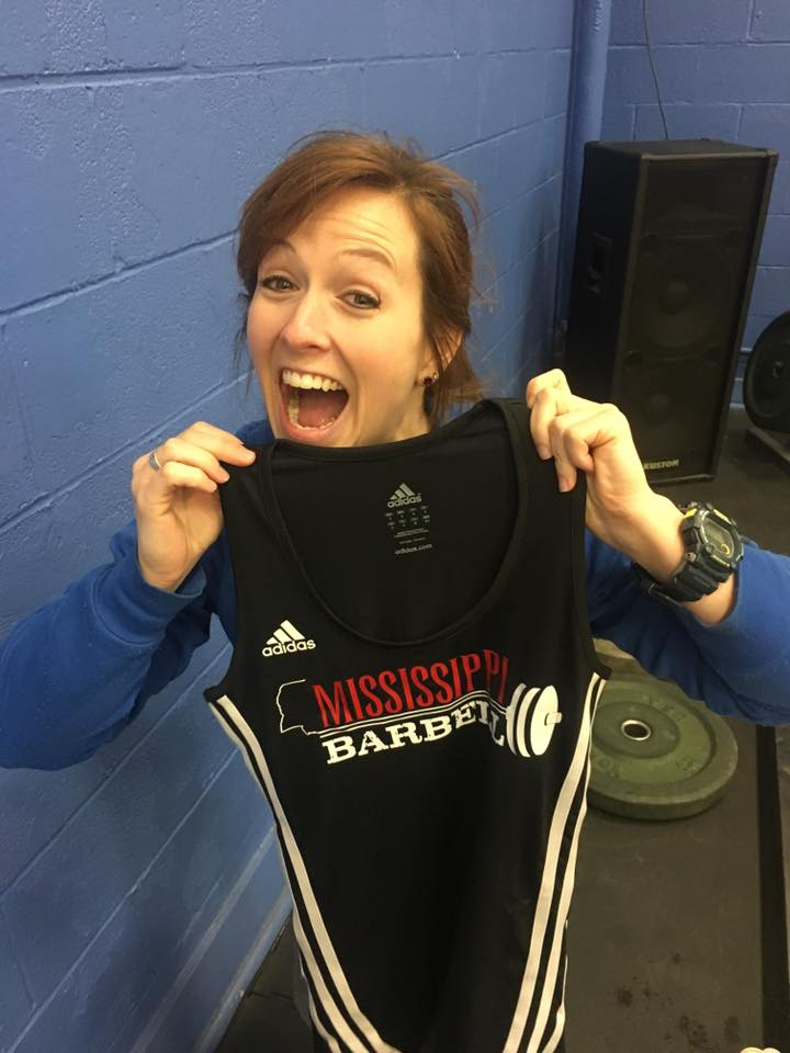 Mississippi Barbell athlete Laura Ostrander with her custom singlet.