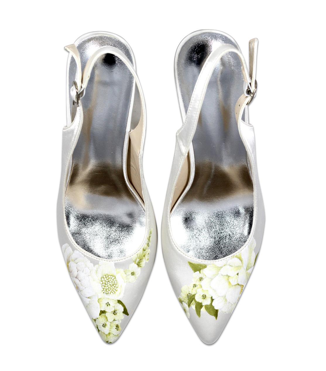 Whites rose slingback wedding shoe