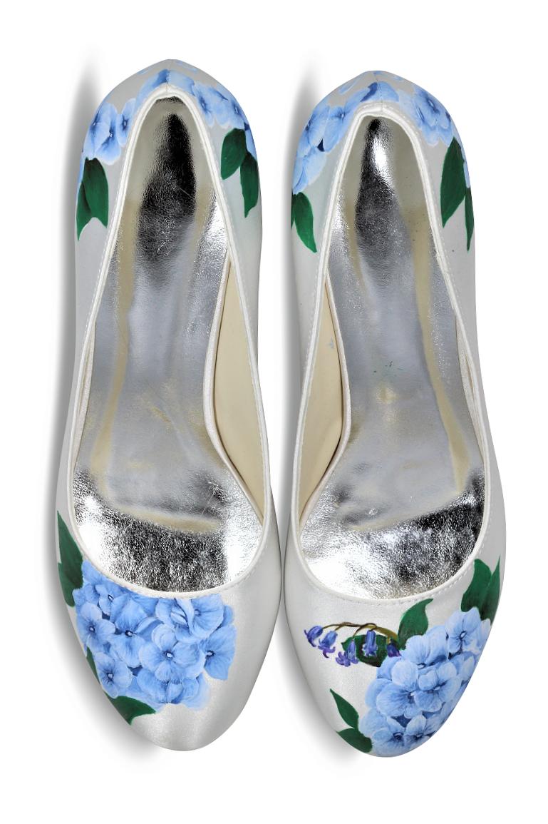 Blue Hydrangea wedding shoes