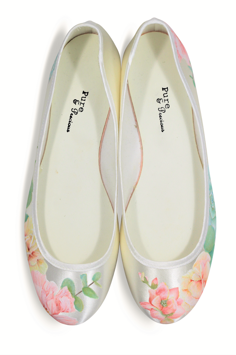 Succulent & peony flat wedding shoes