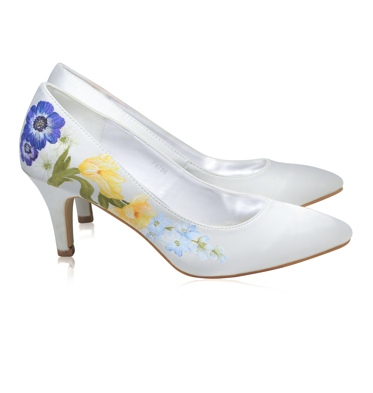 Wildflower print wedding shoe with delphiniums and starflower, perfect for a woodland wedding