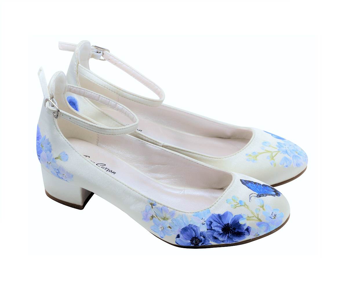 Block heel ovory satin flats with wildflower and butterfly hand-painted print