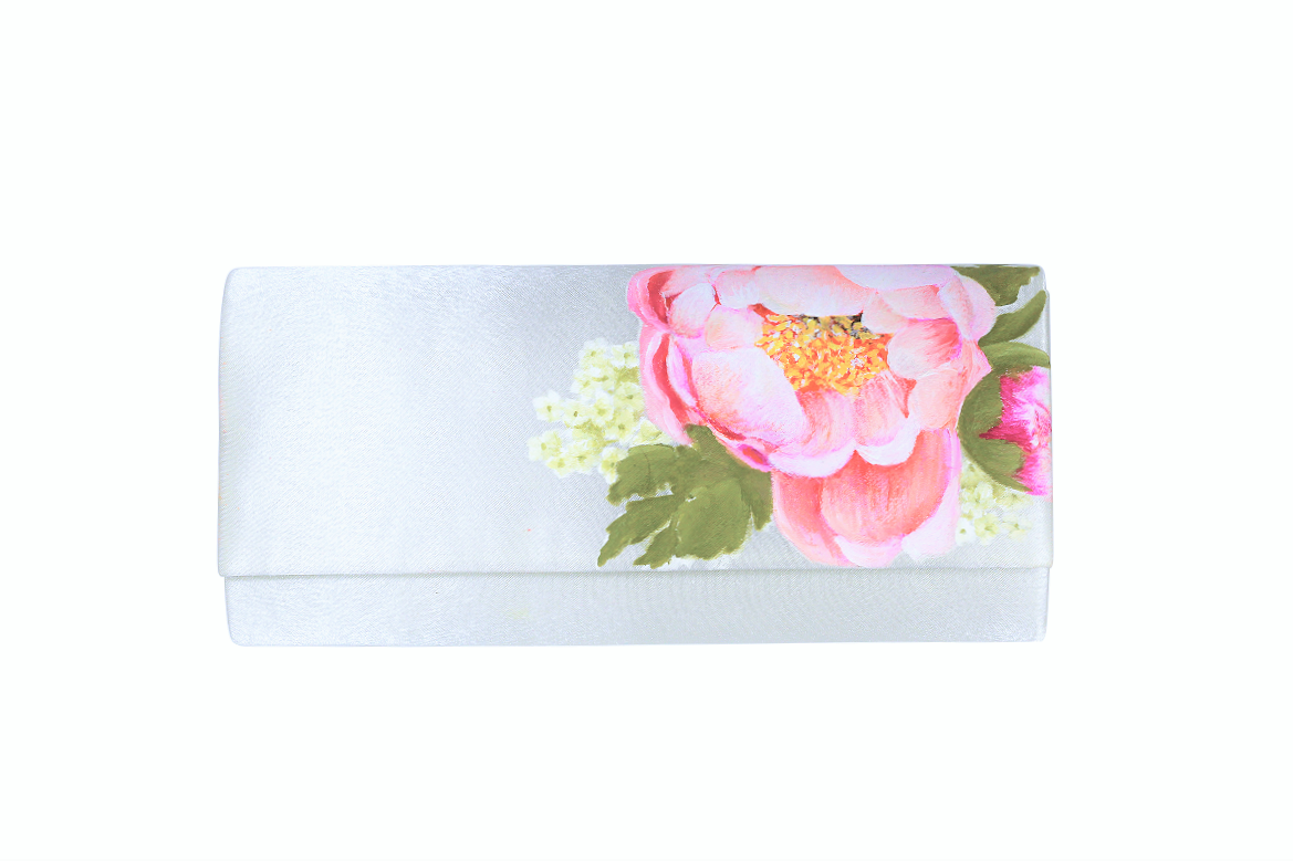 Matching Coral charm pink peony clutch bag in ivory satin, perfect for a bridesmaid accessory.