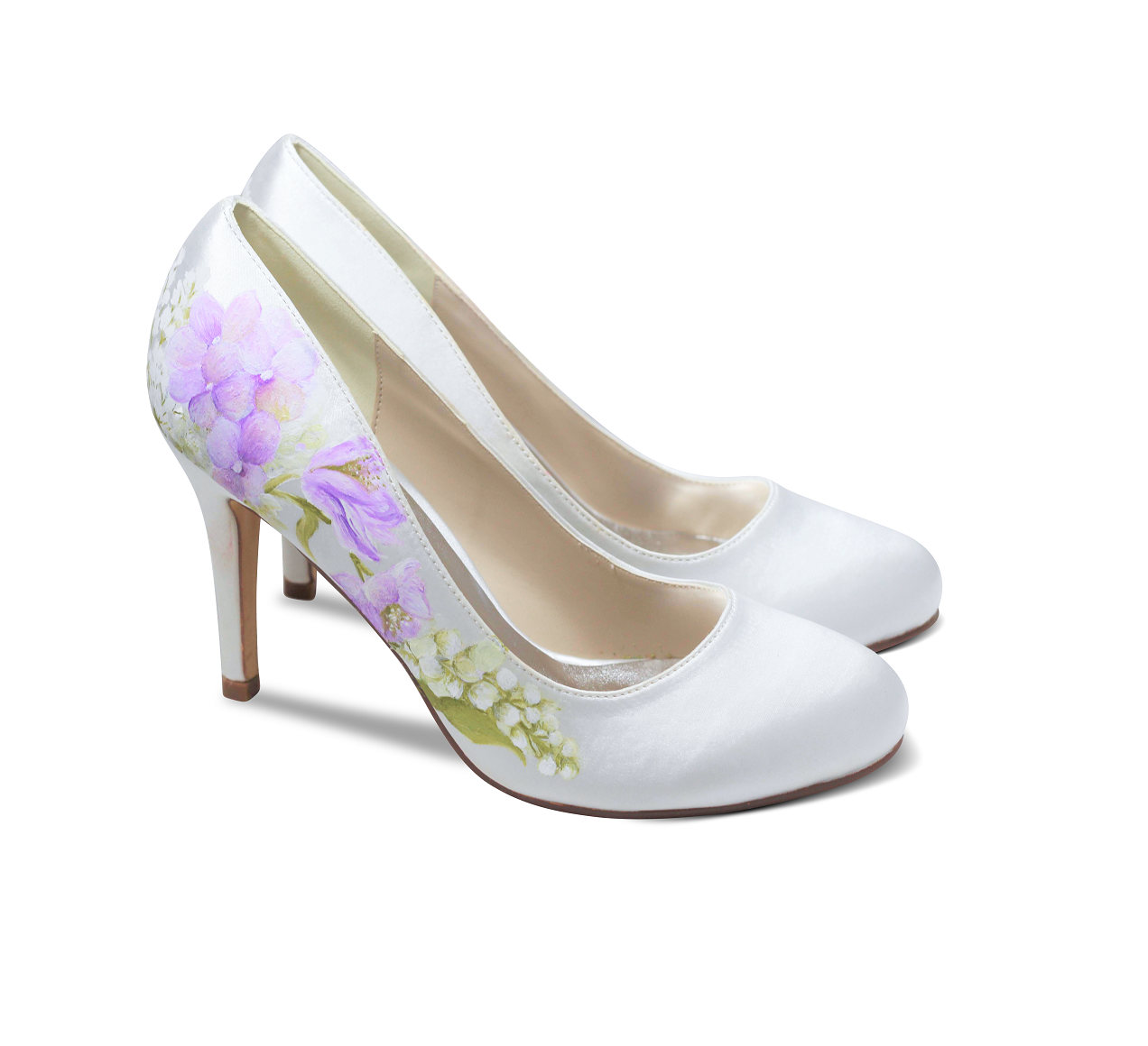 Lilac Hydrangea Ivory wedding shoe, with splashes of green.