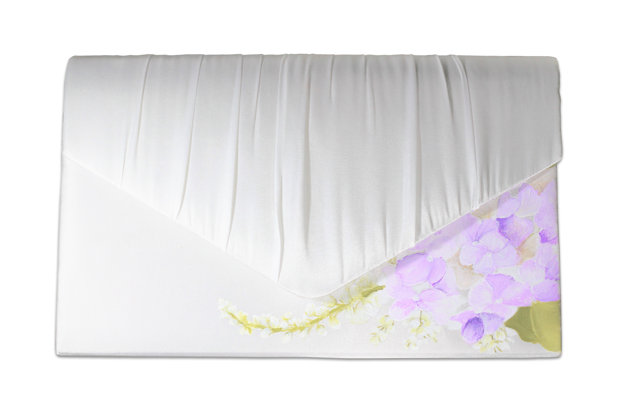 Lilac Hydrangea matching envelope clutch bag in ivory satin