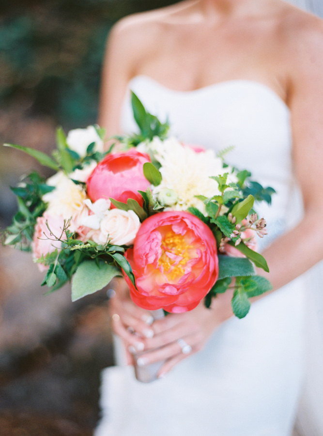 Coral Charm Pink peony wedding bouquet