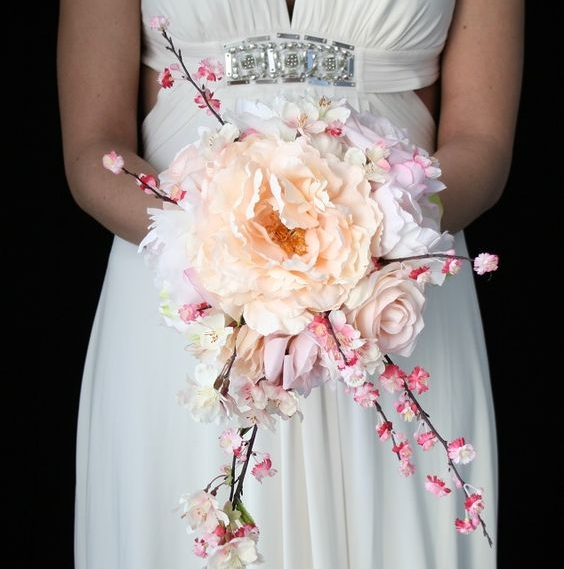 Cherry Blossom and Rose Wedding Bouquet