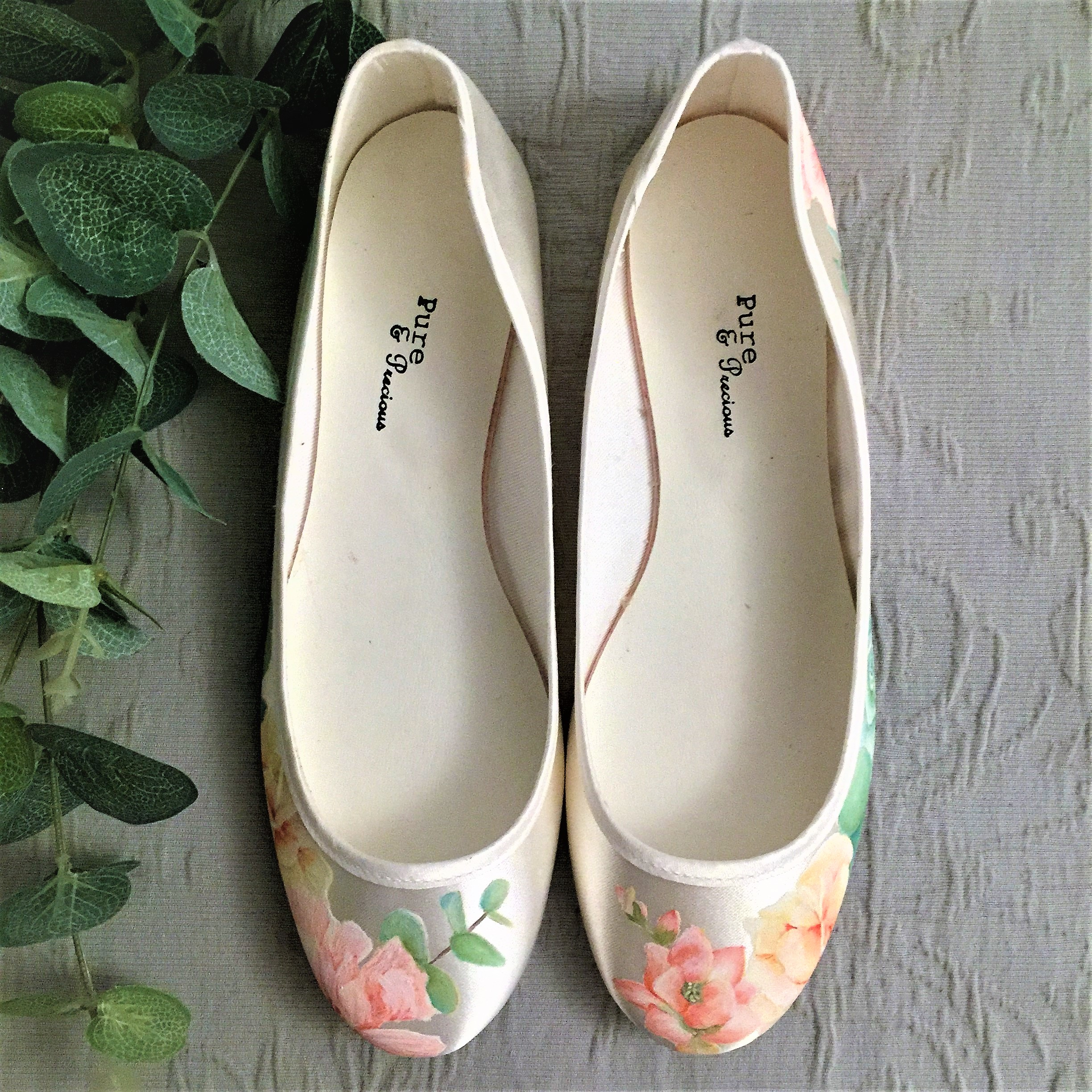 Peach Freesia and Eucalyptus Succulent print flat floral wedding shoes