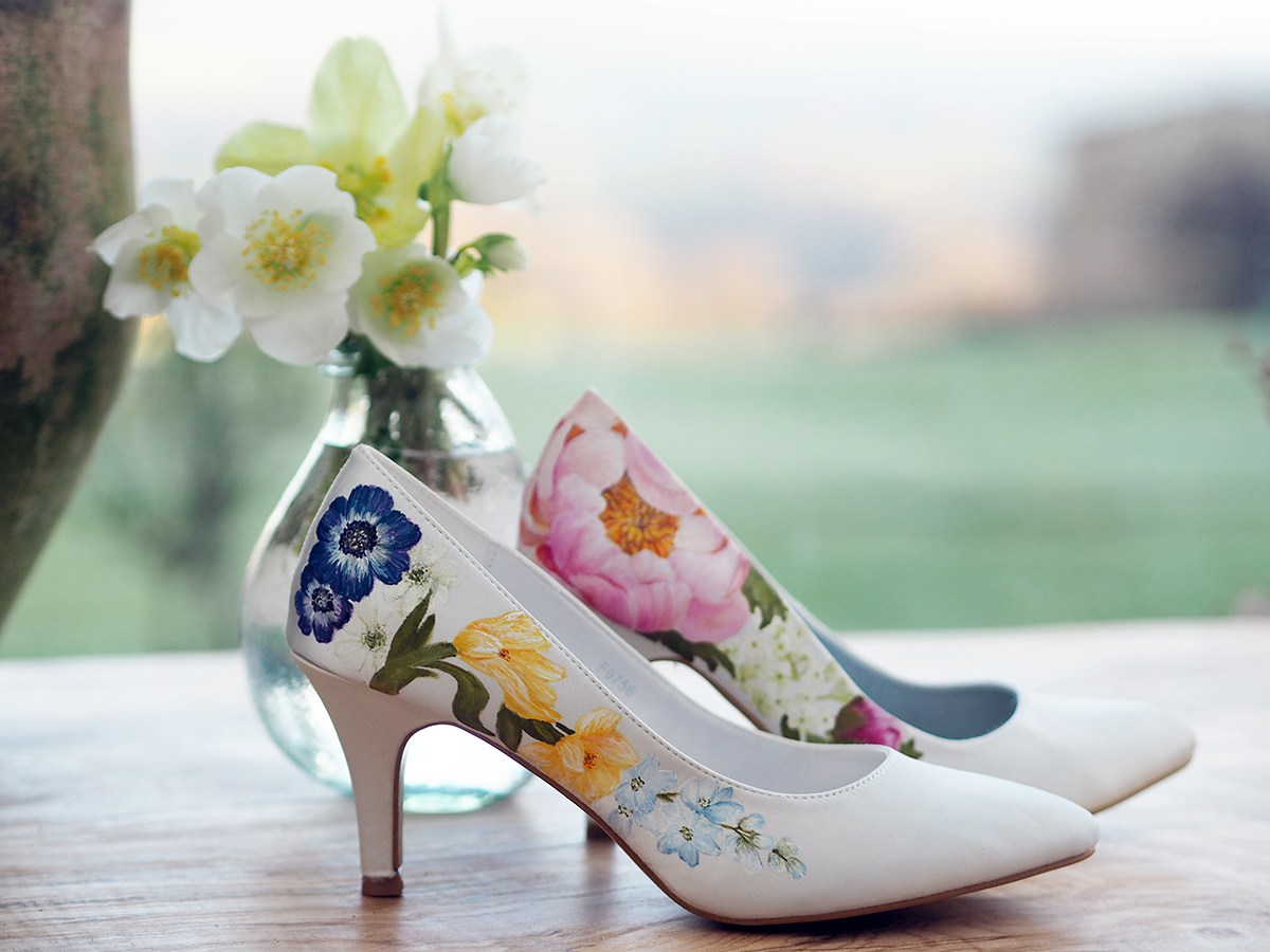 Custom handpainted wedding shoes floral print