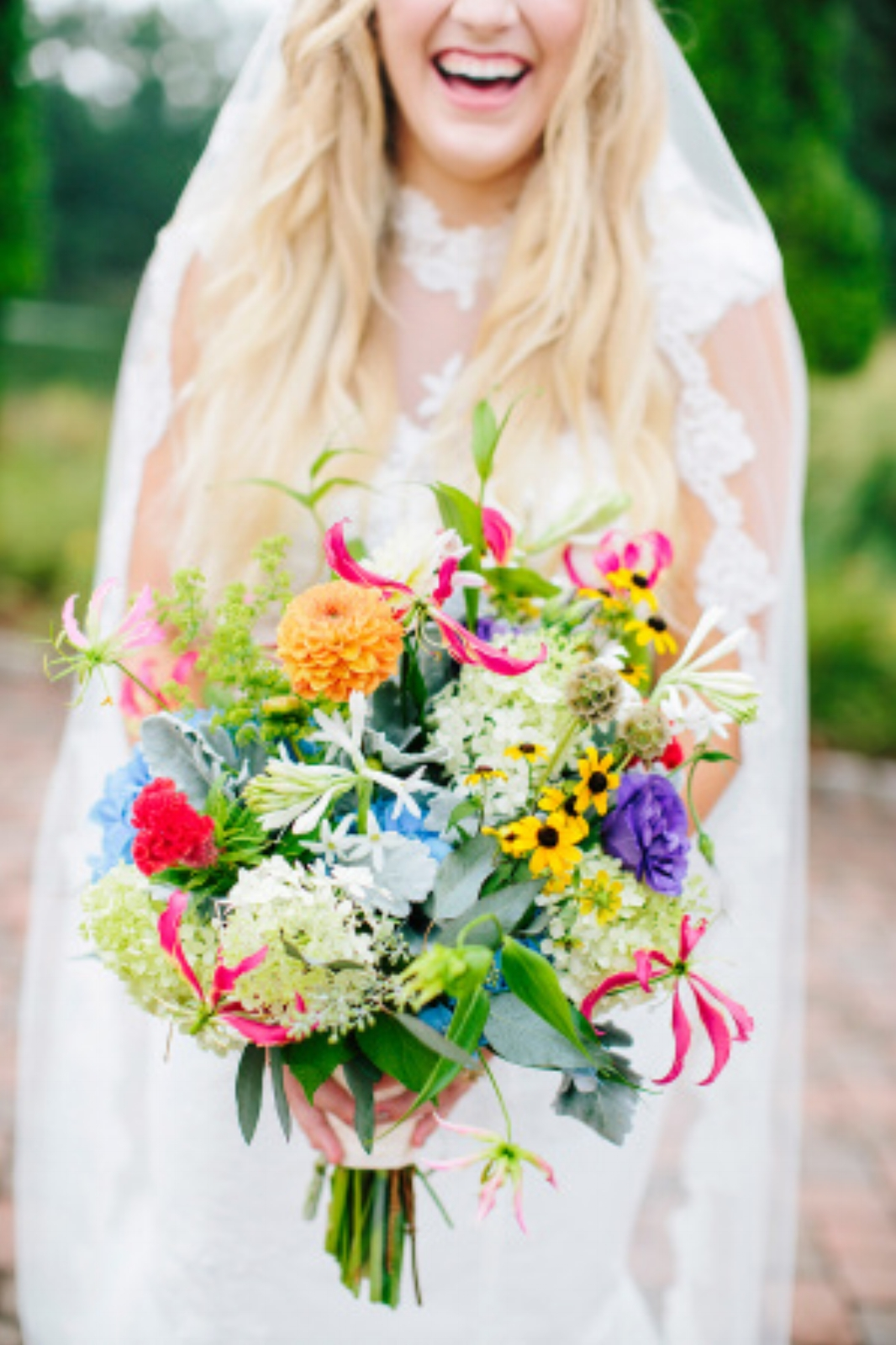 Unique Wedding bouquet with wildflowers