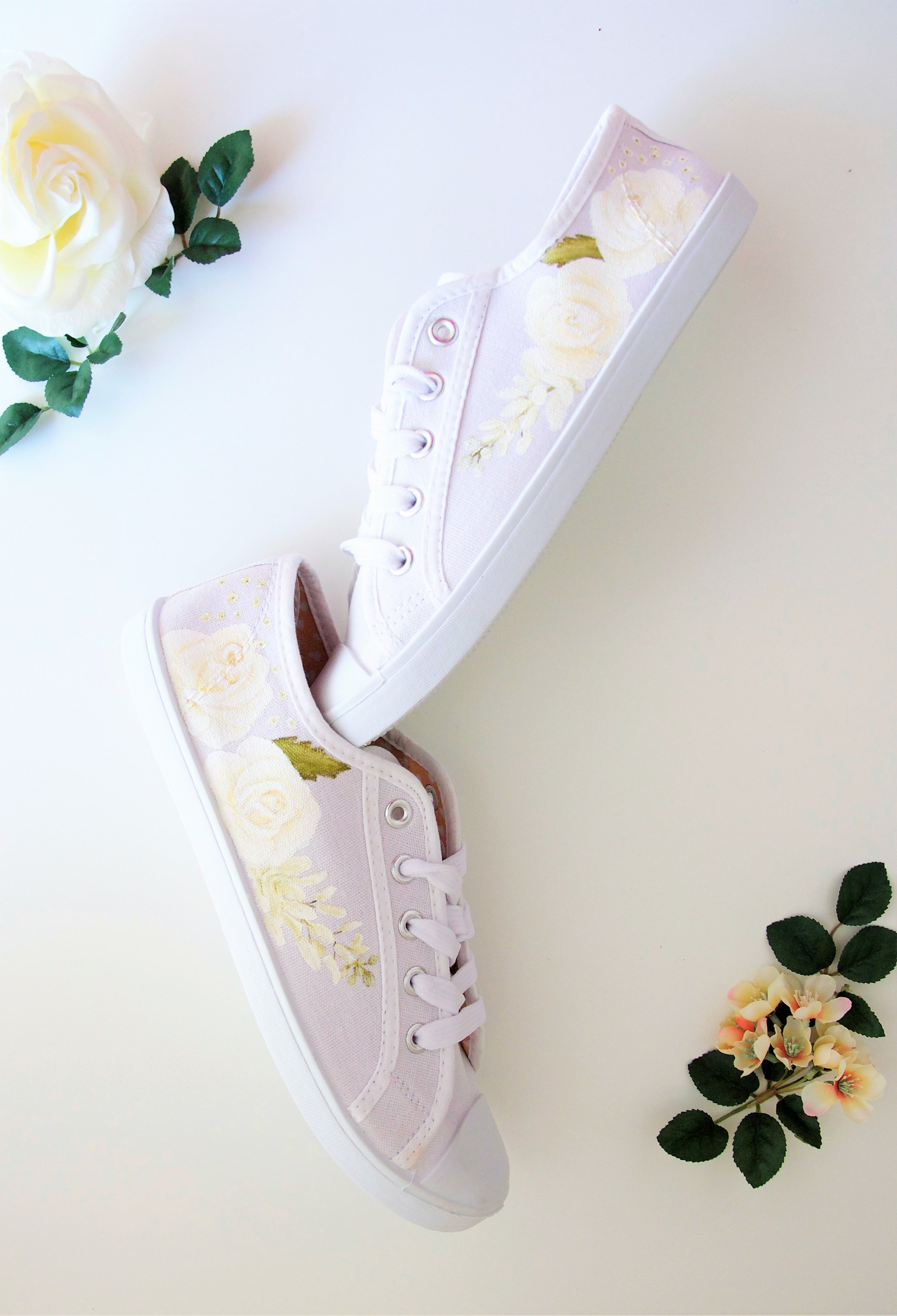 white wisteria wedding trainers