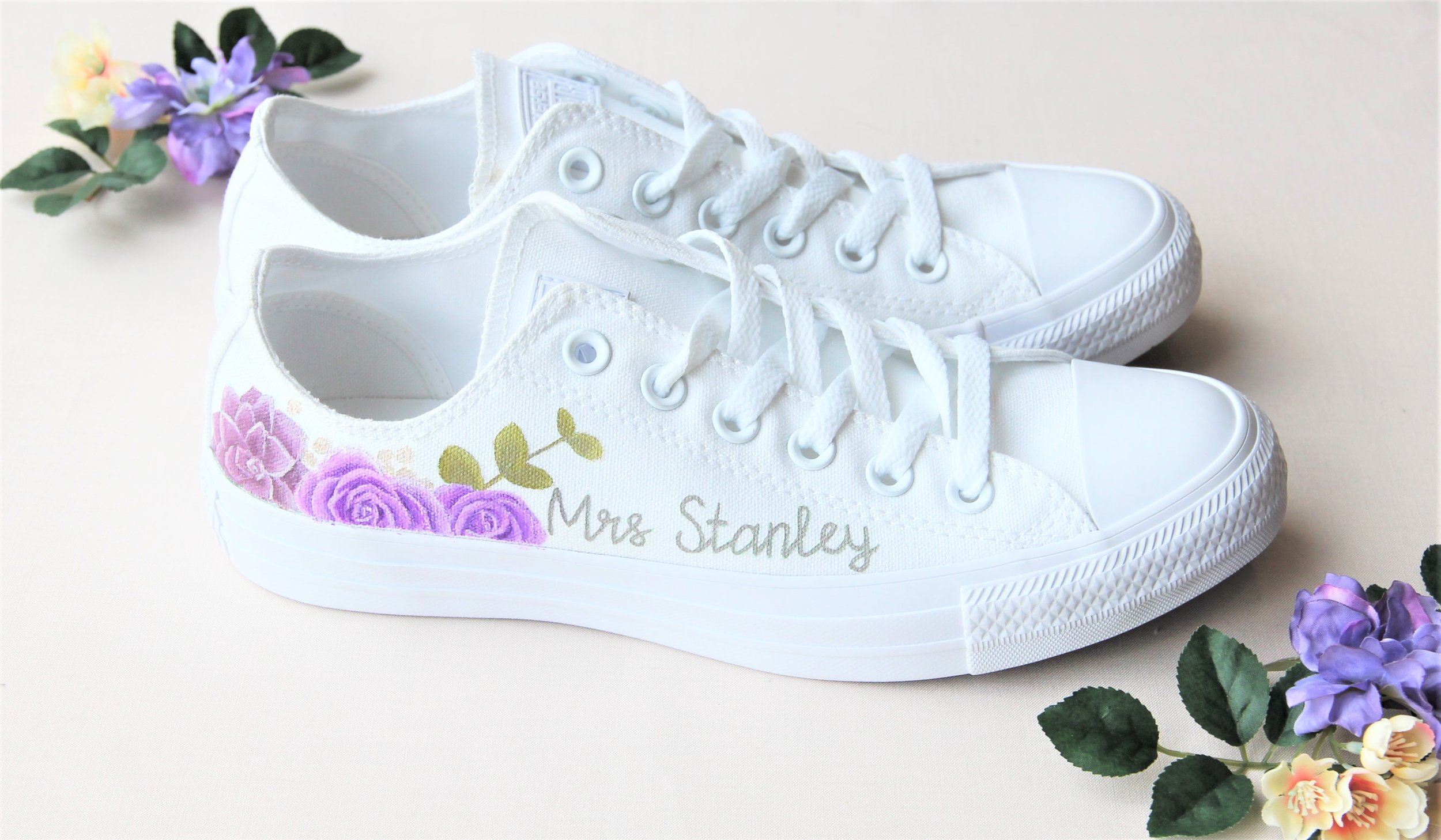 Purple rose and succulent print wedding trainers