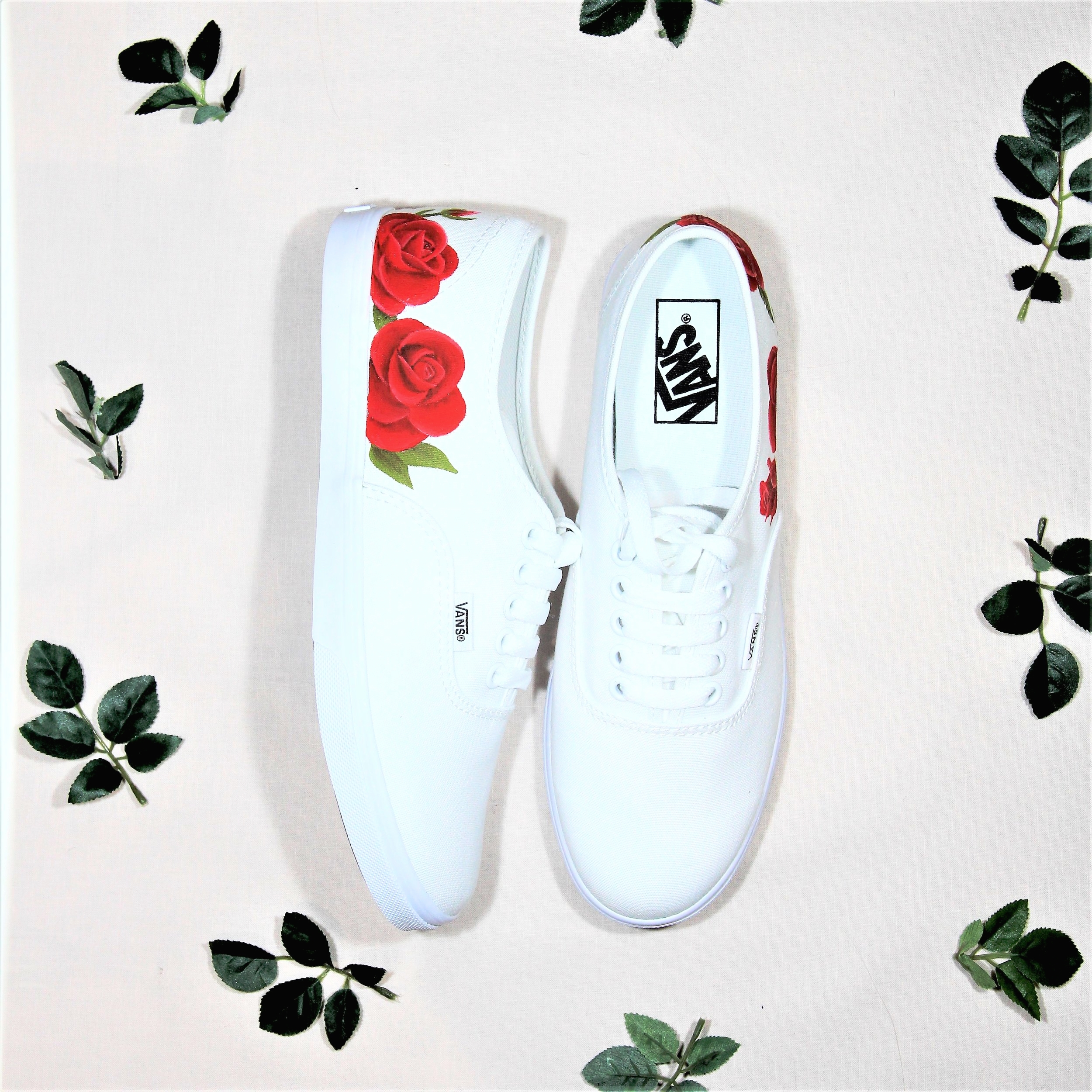 Red Rose customised wedding trainers