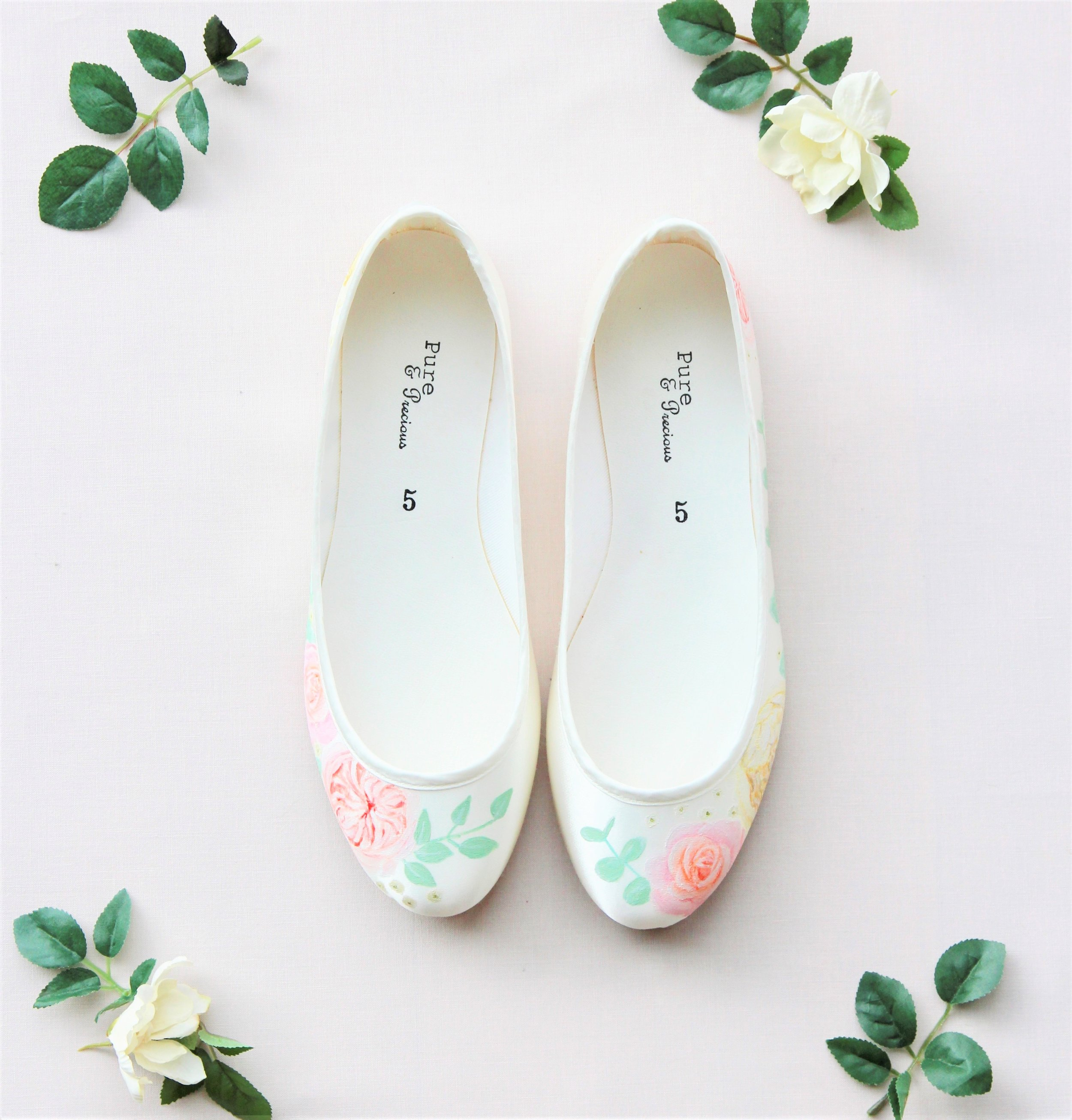 Rose and eucalyptus flat wedding shoes