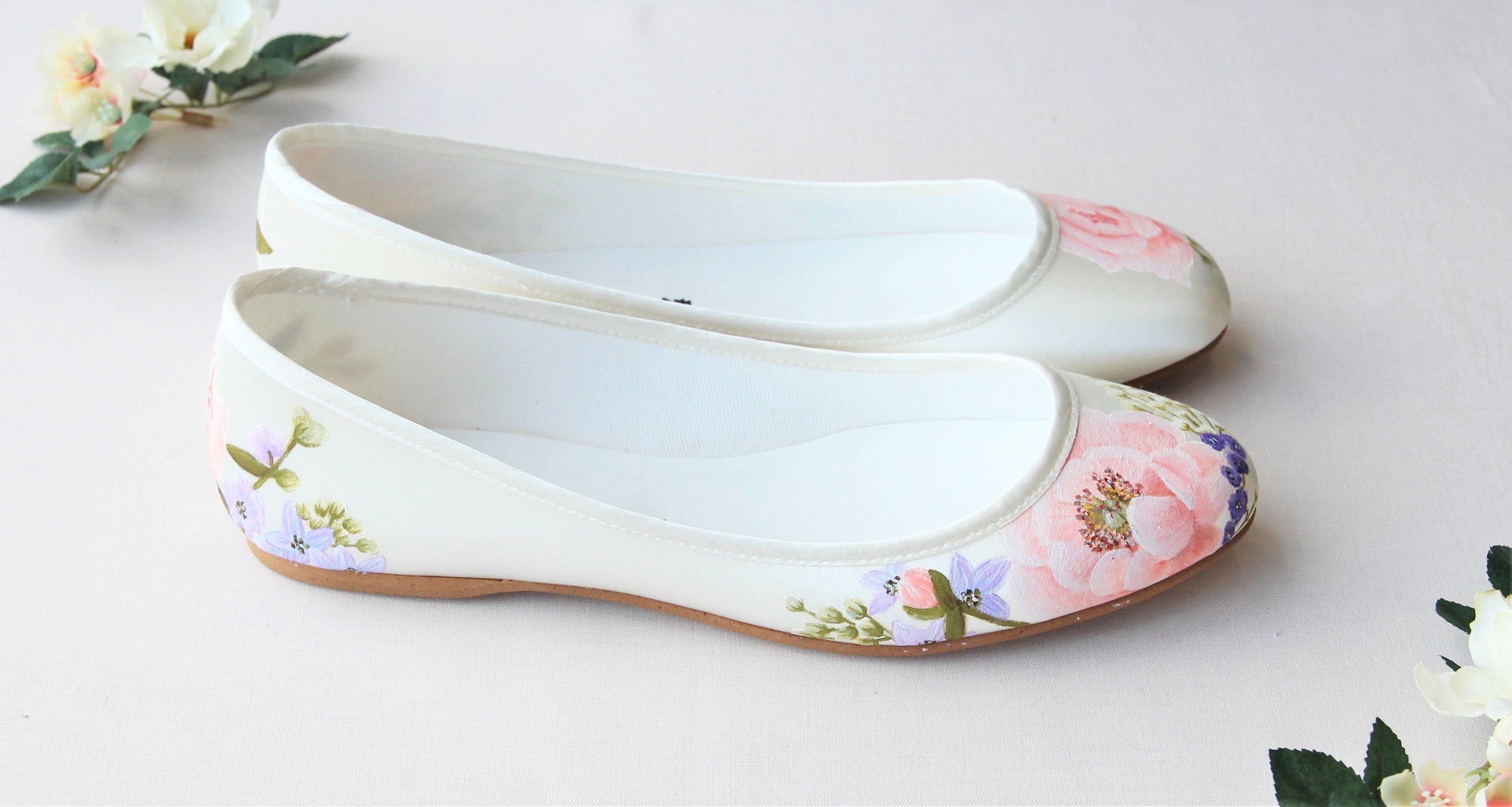 Garden rose and lilac flower flat wedding shoes