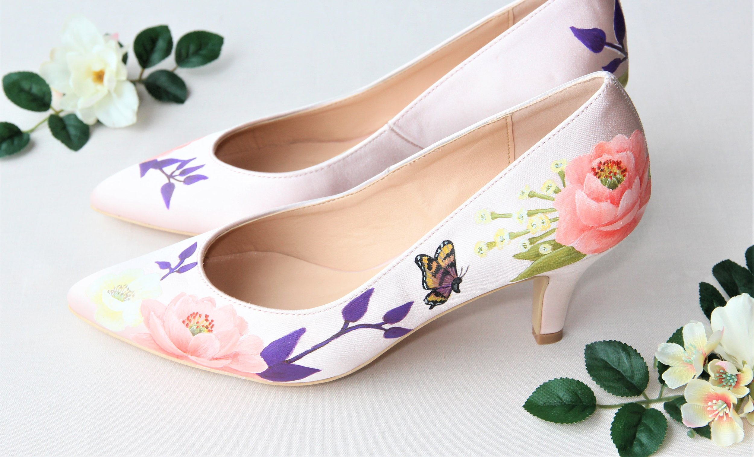 Blush Satin wedding shoes with butterfly print