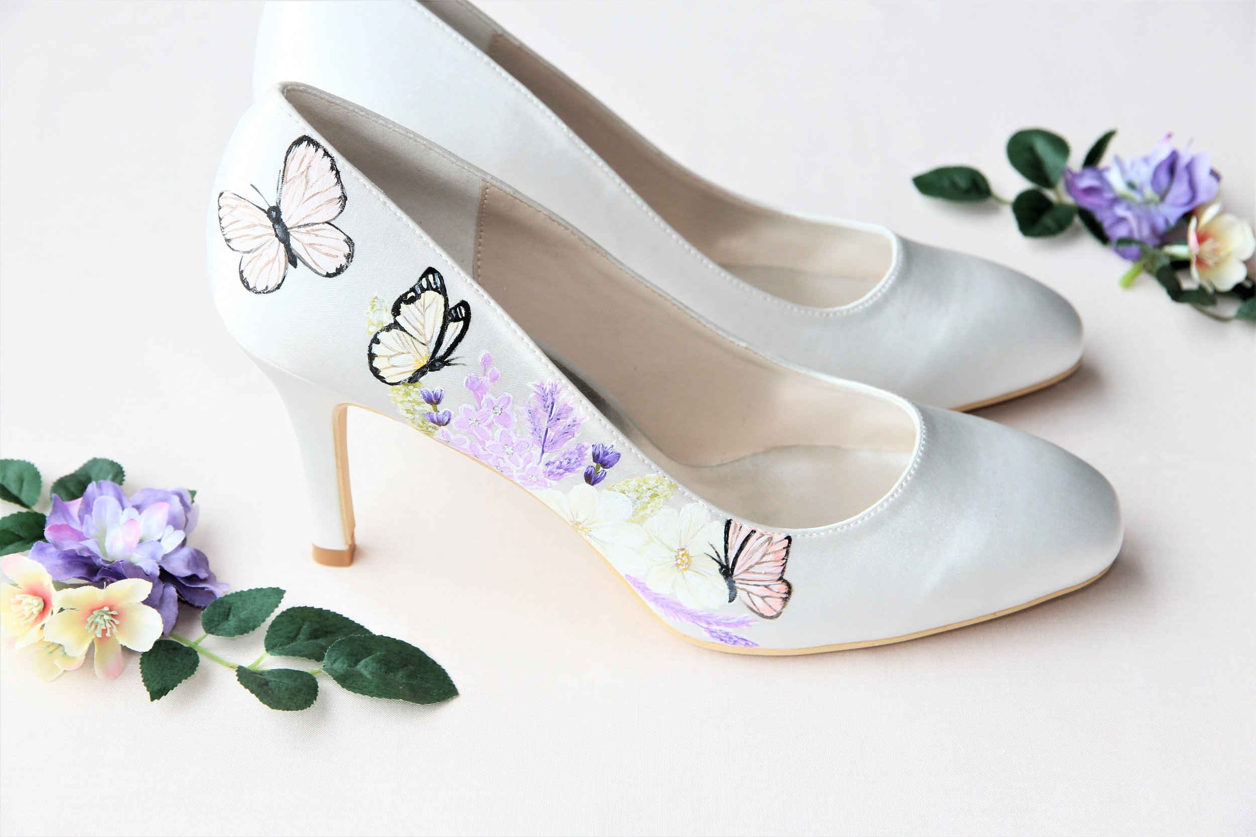 butterfly print satin wedding shoes