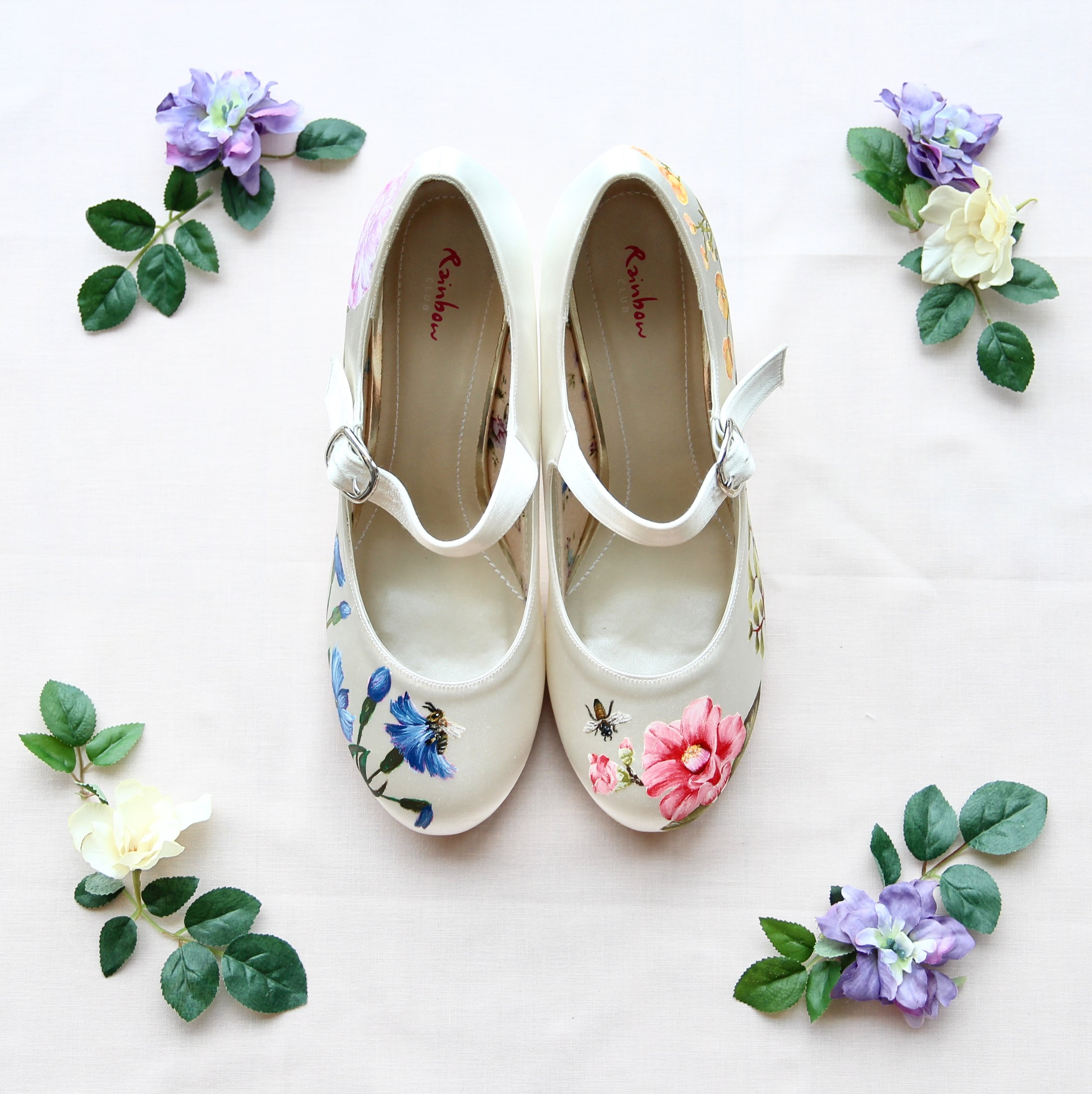 Wildflower print bumblebee chunky heel wedding shoes