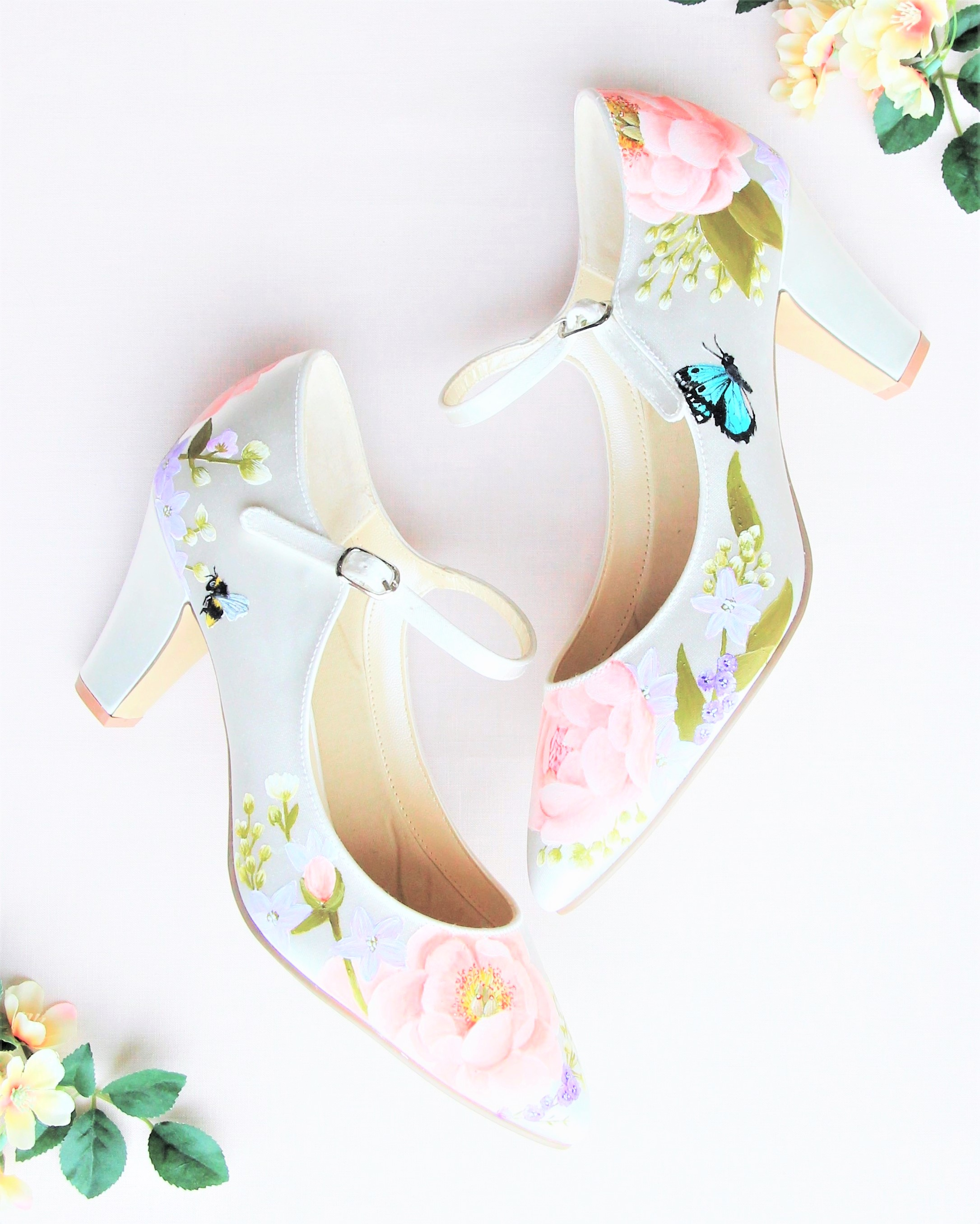 pink peony flower and butterfly print satin chunky heel wedding shoes