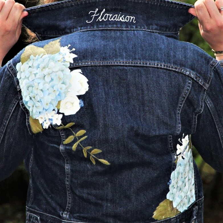 hand painted floral denim jacket