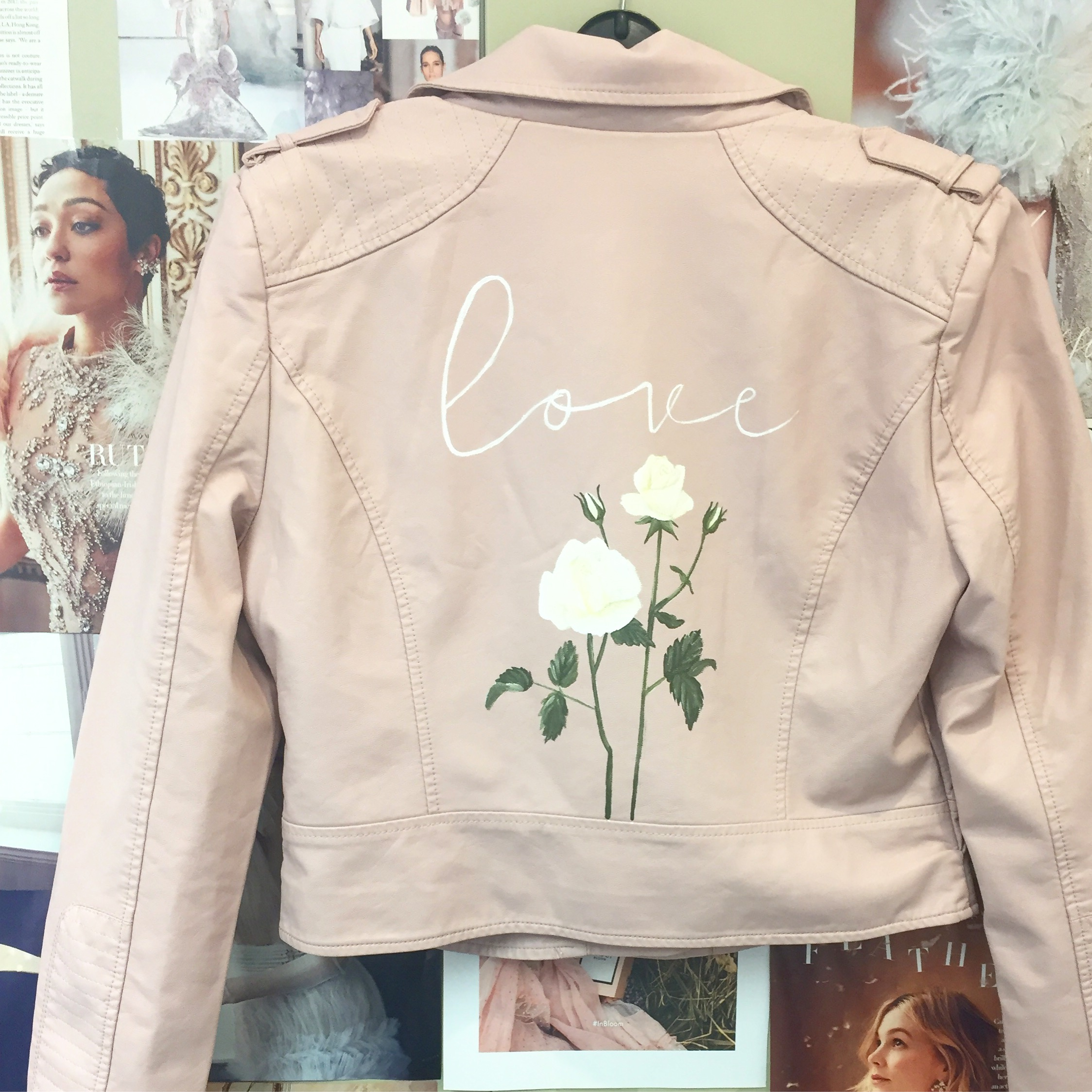 blush pink leather jacket hand painted floral print