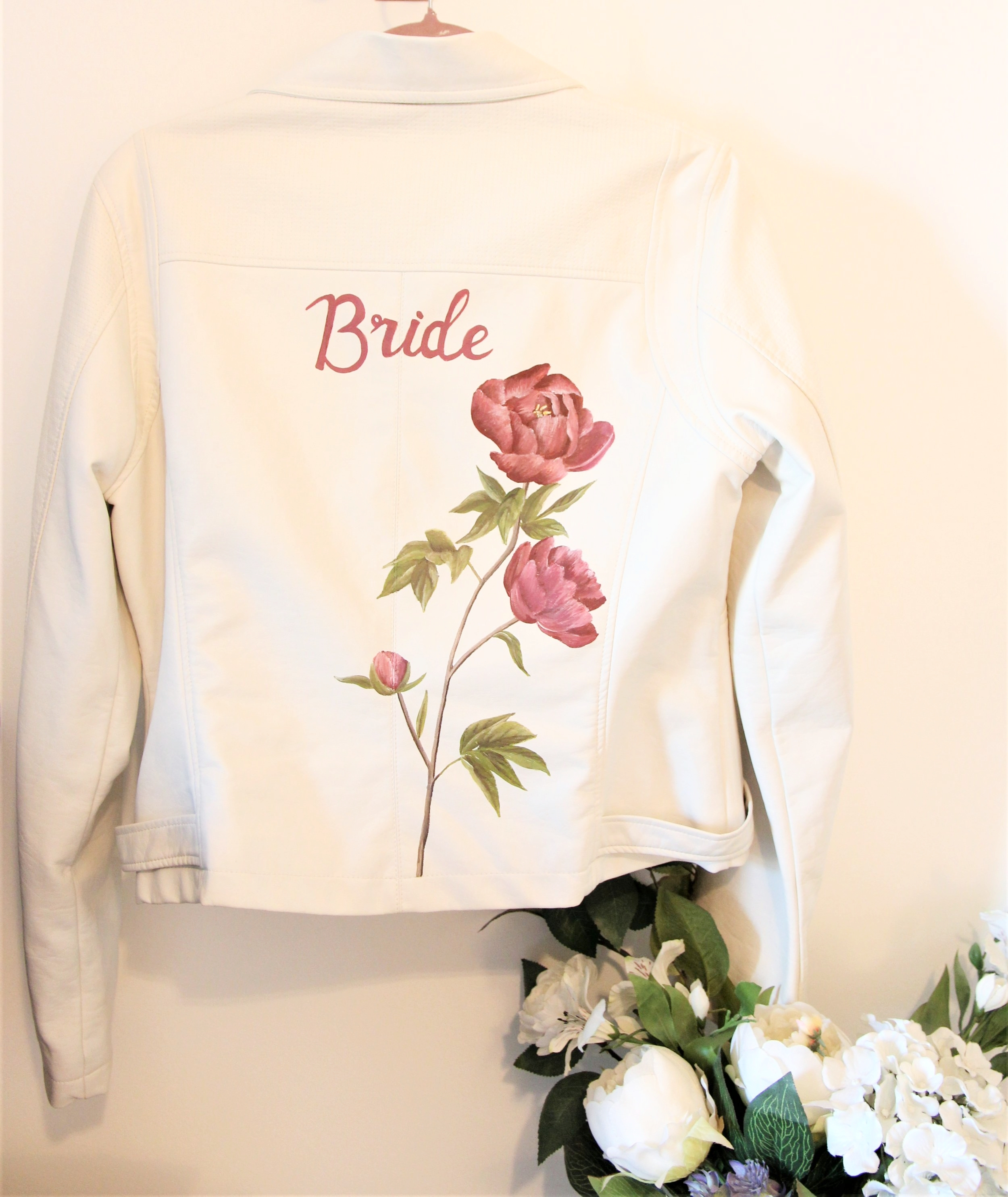 handpainted bride floral white leather jacket