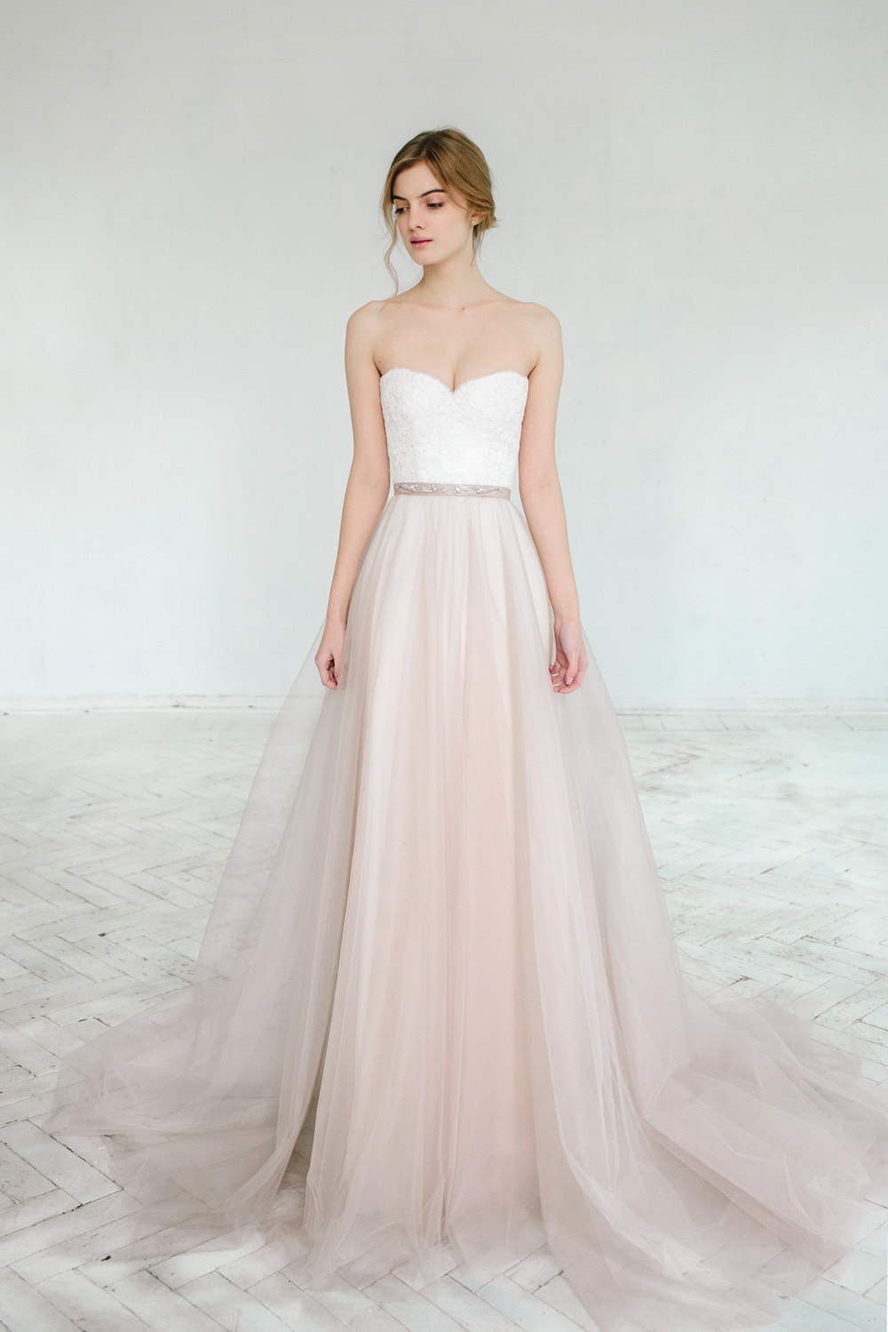 Blush pink tulle wedding dress