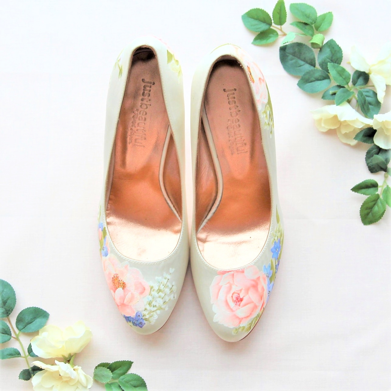 pink peony handpainted satin wedding shoes