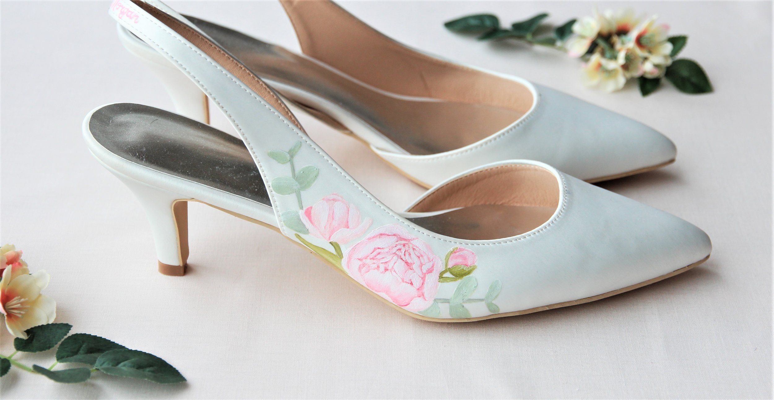 Pink peony and eucalyptus sling back satin shoes