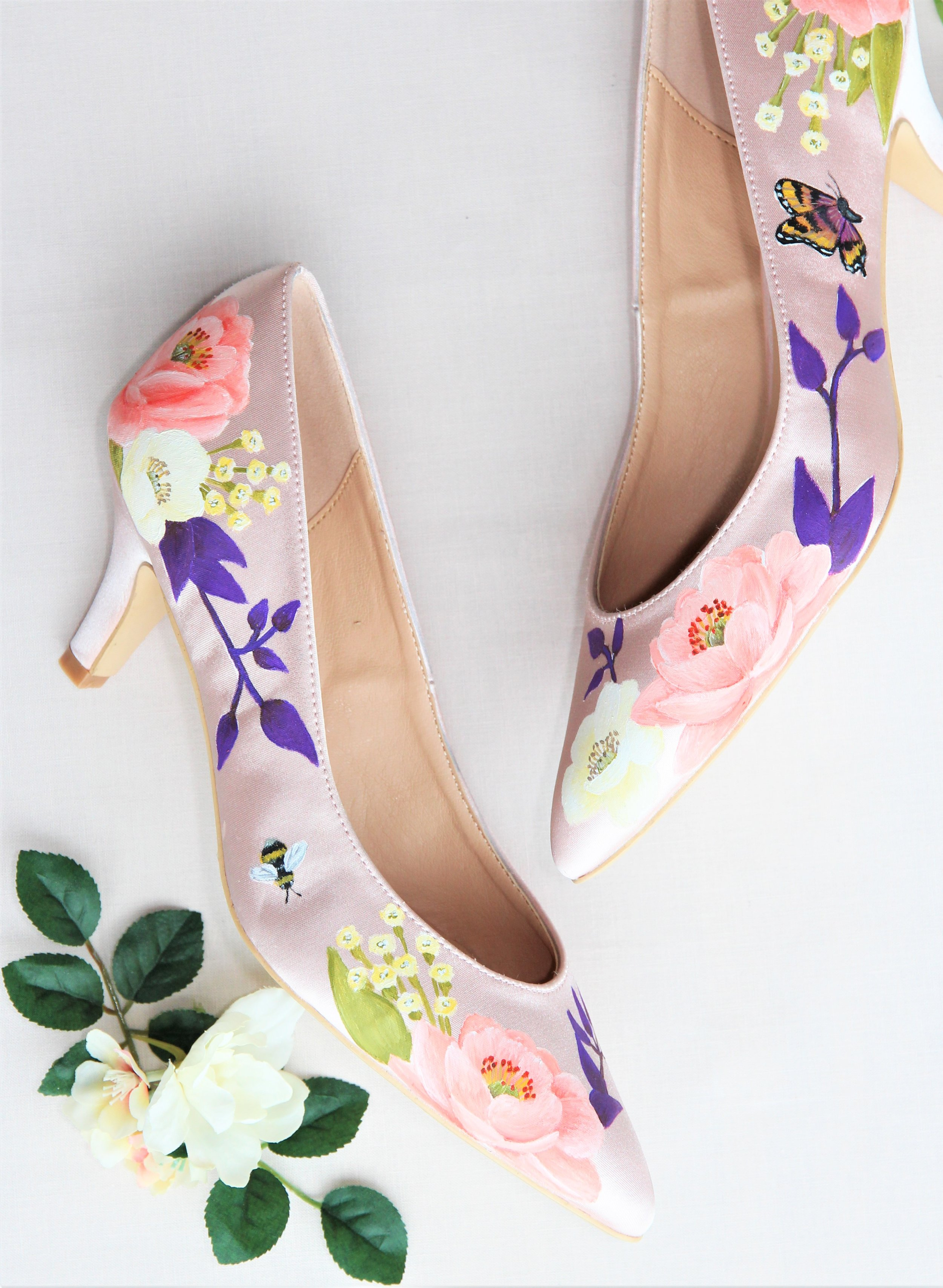 blush satin wedding shoes with butterfly and bumblebee print