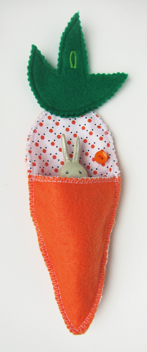 Carrot Pouch with Button Closure for Hanging (and Stewart the Rabbit)