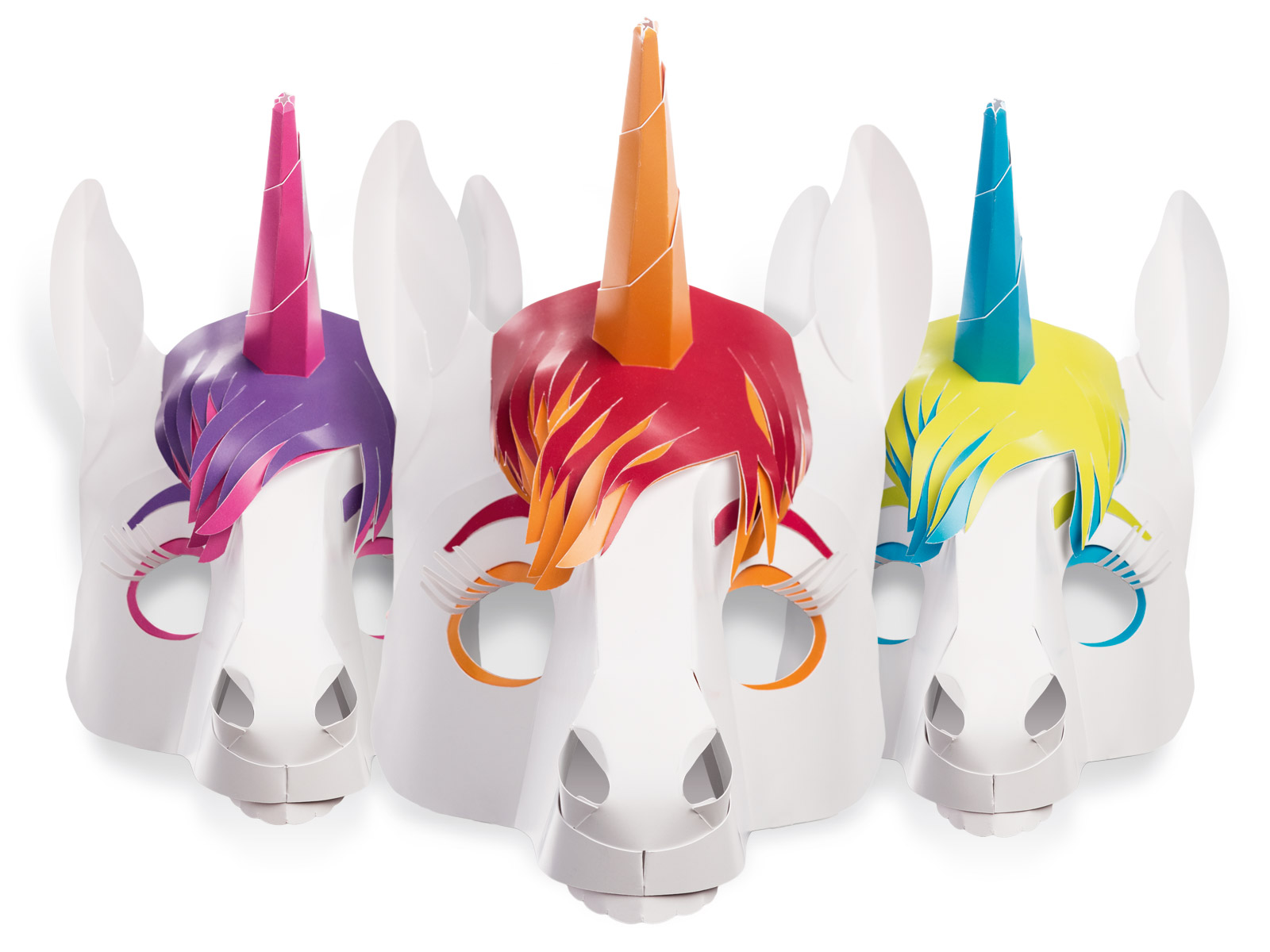 ....Einhorn Masken Dreierset ..Unicorn masks – triple set....