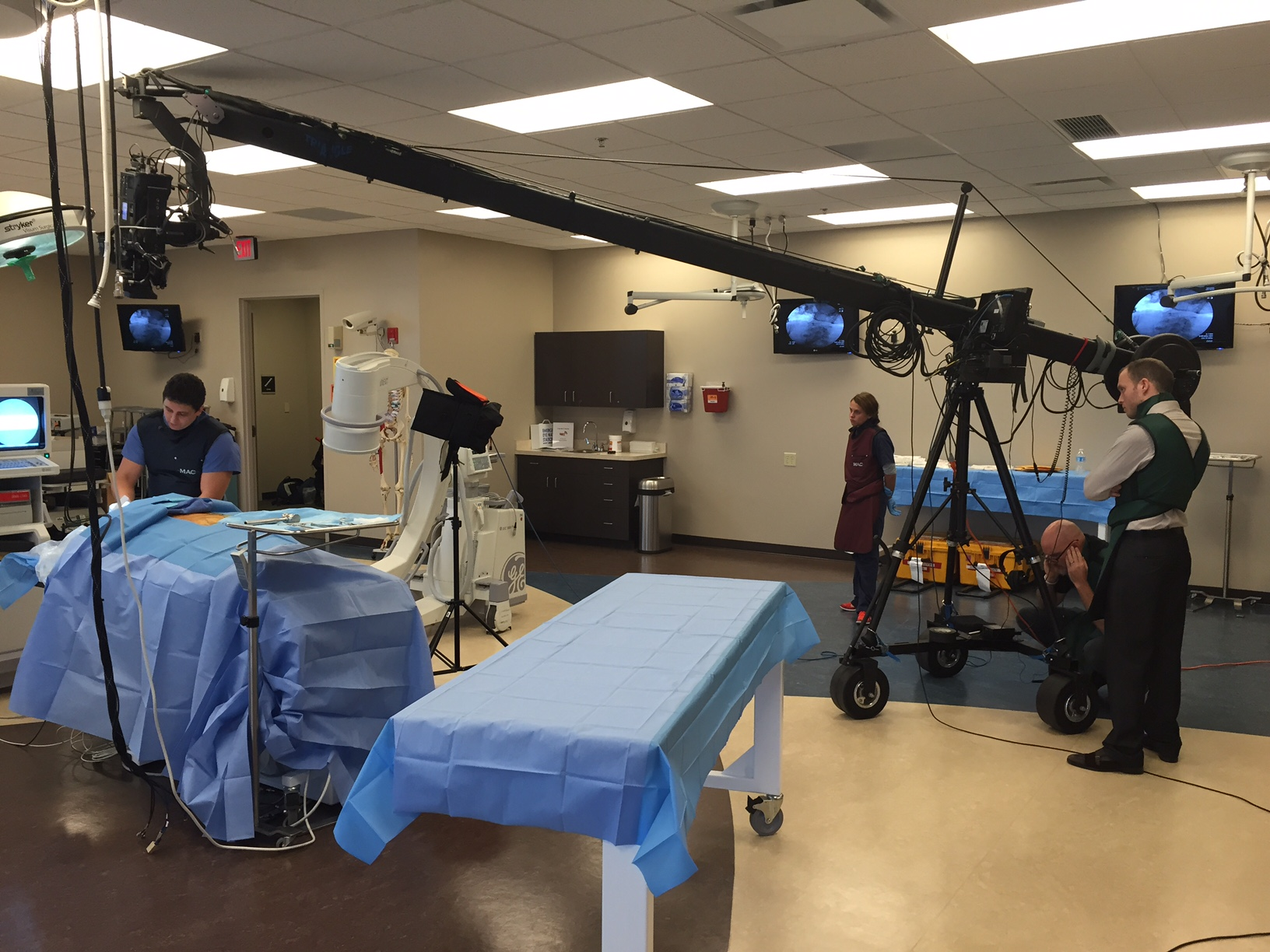 Using a jib to get up close and personal with a cadaver