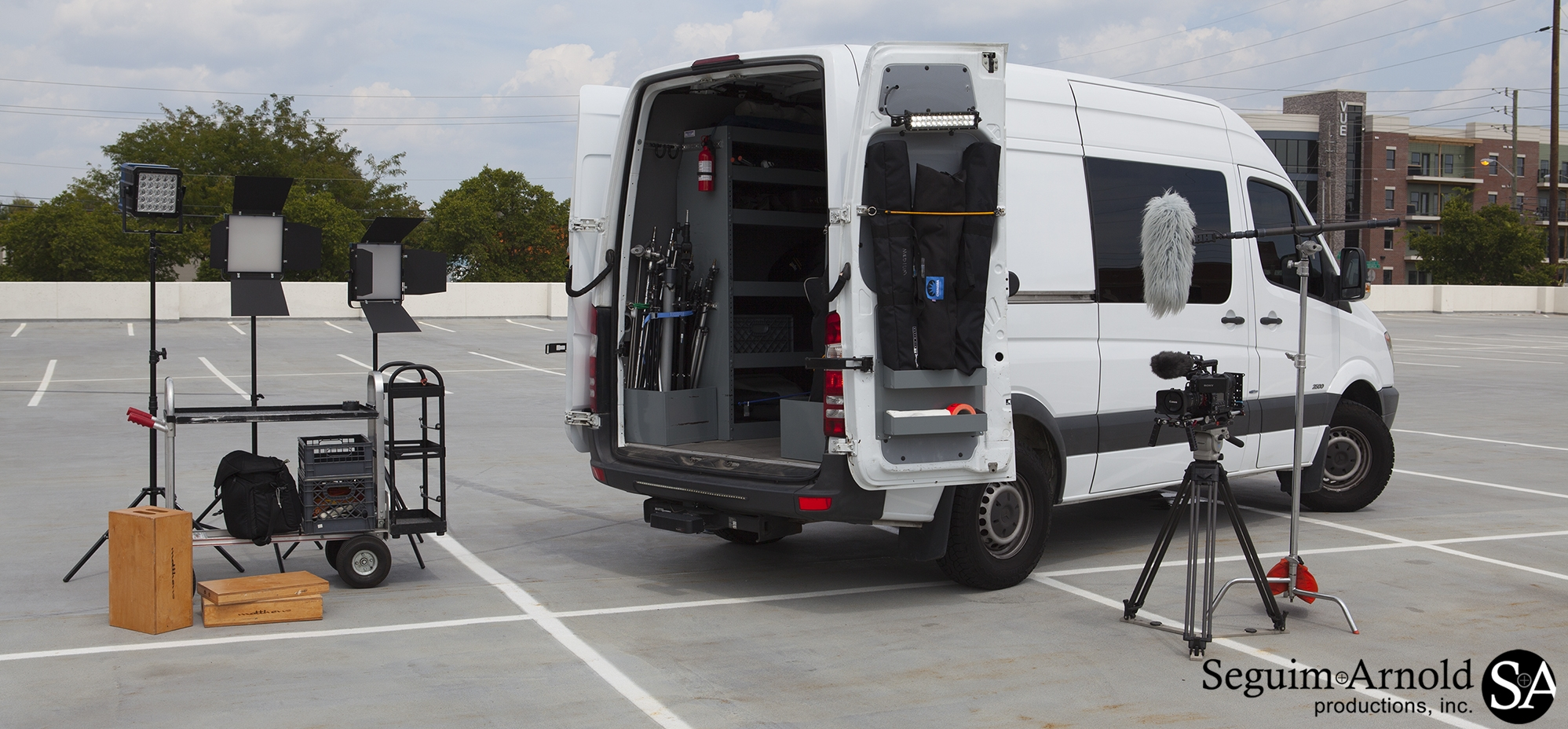 Our Sprinter Production Van has everything we need for corporate and network news. In fact, it is optimized for live network news with the ability to power all of our LED lights and can charge everything from an iPhone to a camera battery.It also features exterior LED work lights and safety strobes. Plus, with our LiveU uplink unit, we can broadcast anywhere there is cellular service.