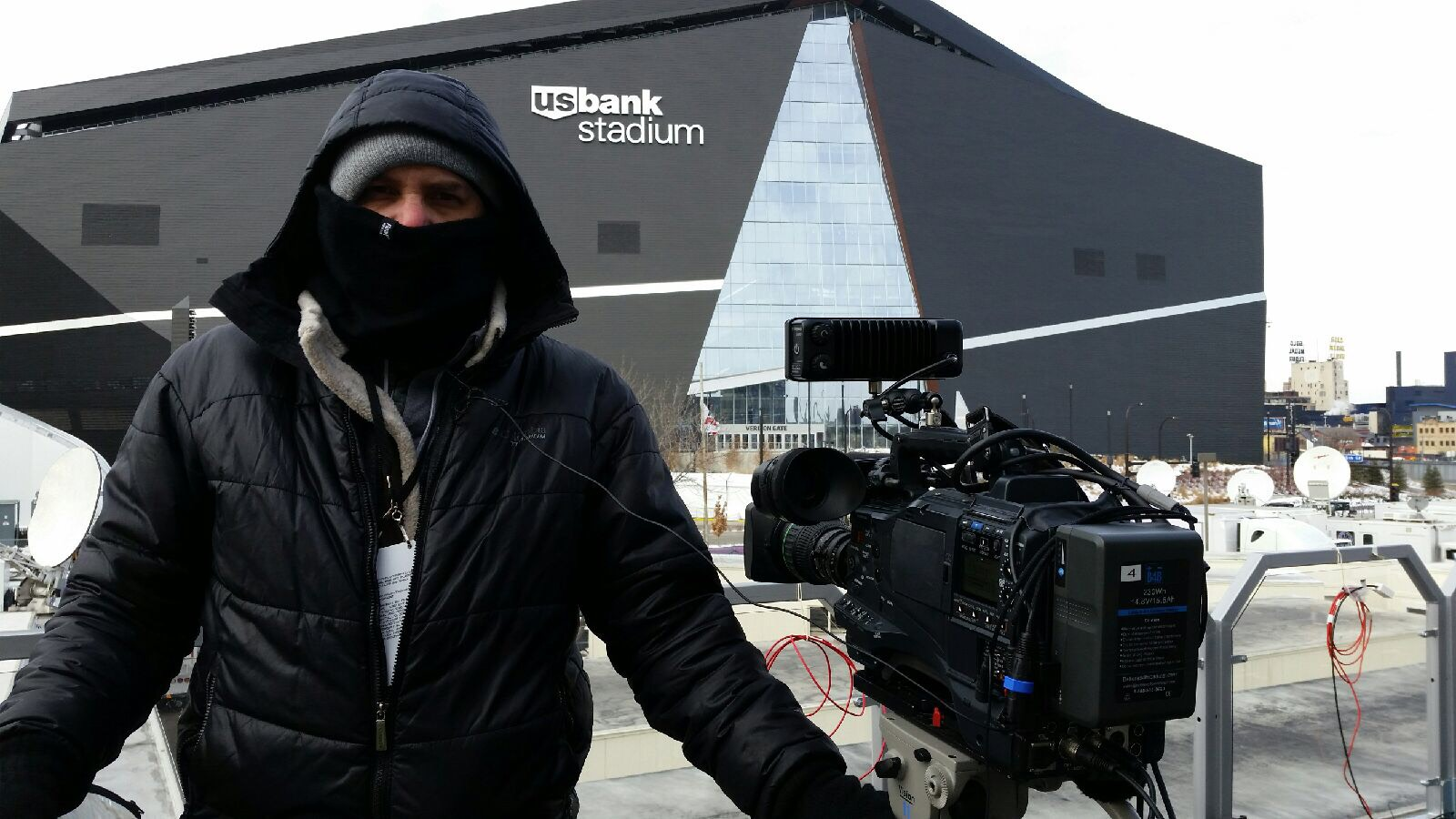 Minneapolis, MN - Filming on-top of the broadcast platform for E! News..temperature this day 0 degrees!